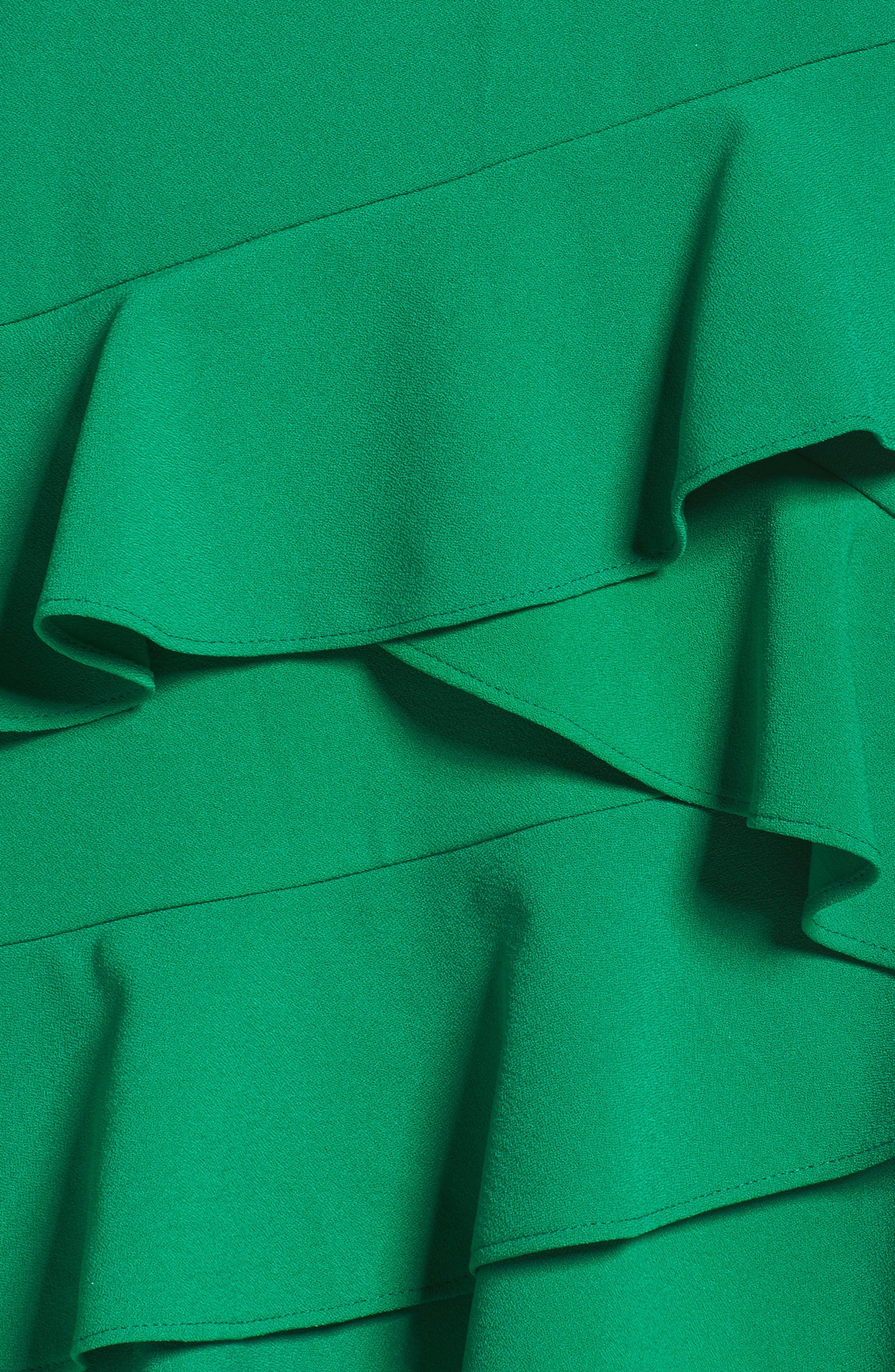 Ruffle Hem Shift Dress,                             Alternate thumbnail 5, color,                             Green