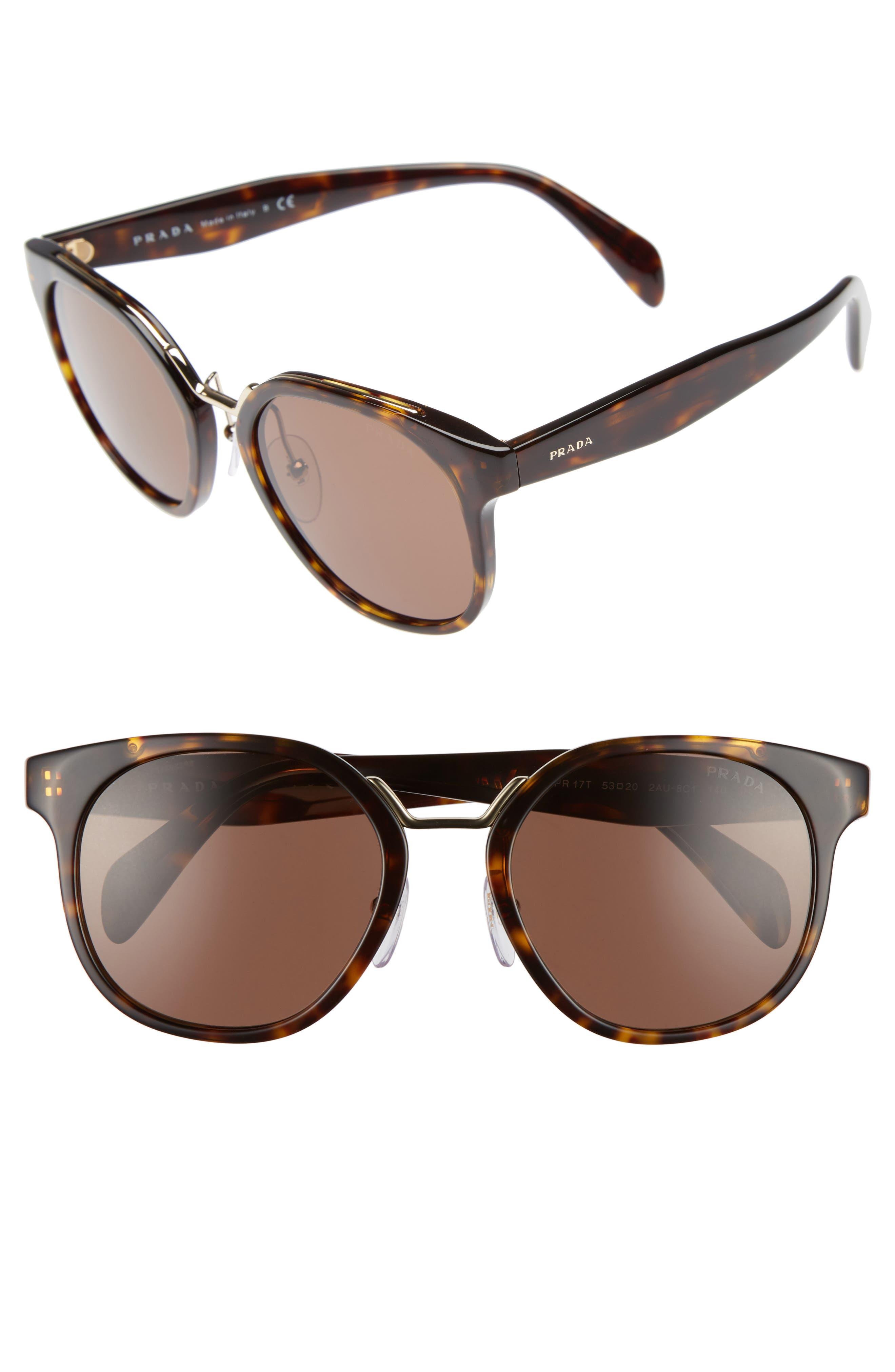 53mm Horn-Rimmed Sunglasses,                             Main thumbnail 1, color,                             Brown Havana