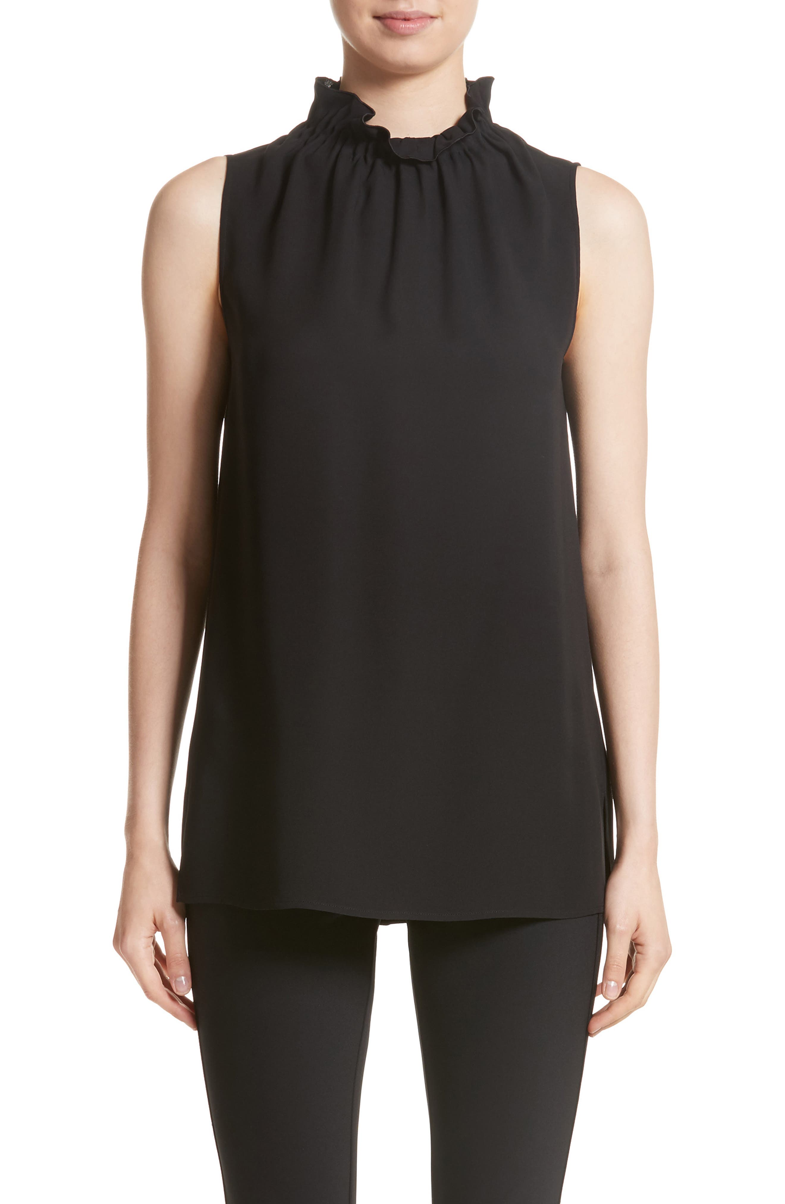 Percy Silk Double Georgette Blouse,                         Main,                         color, Black