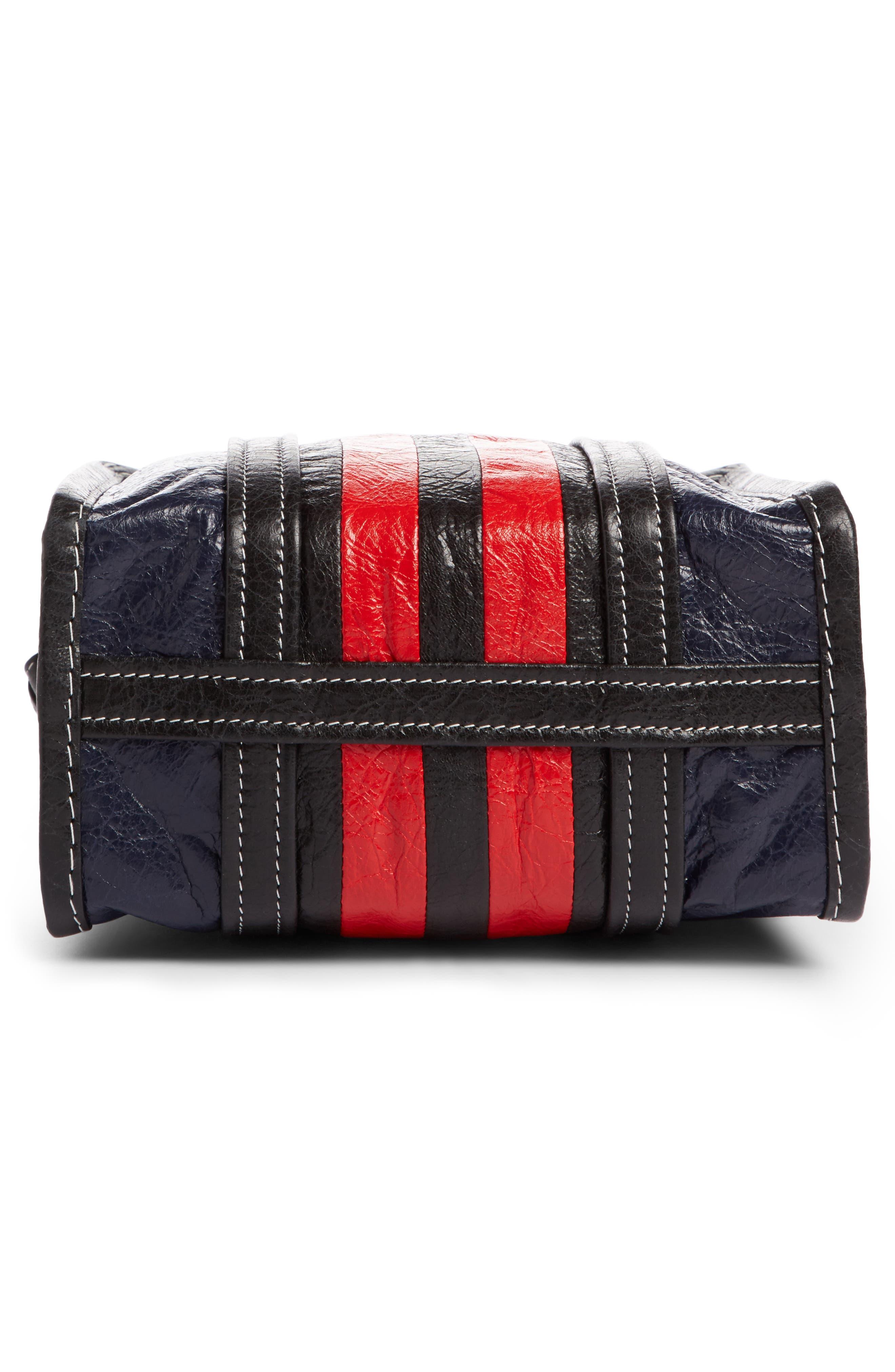 Small Bazar Leather Shopper,                             Alternate thumbnail 4, color,                             Bleu Mar/ Rouge/ Noir