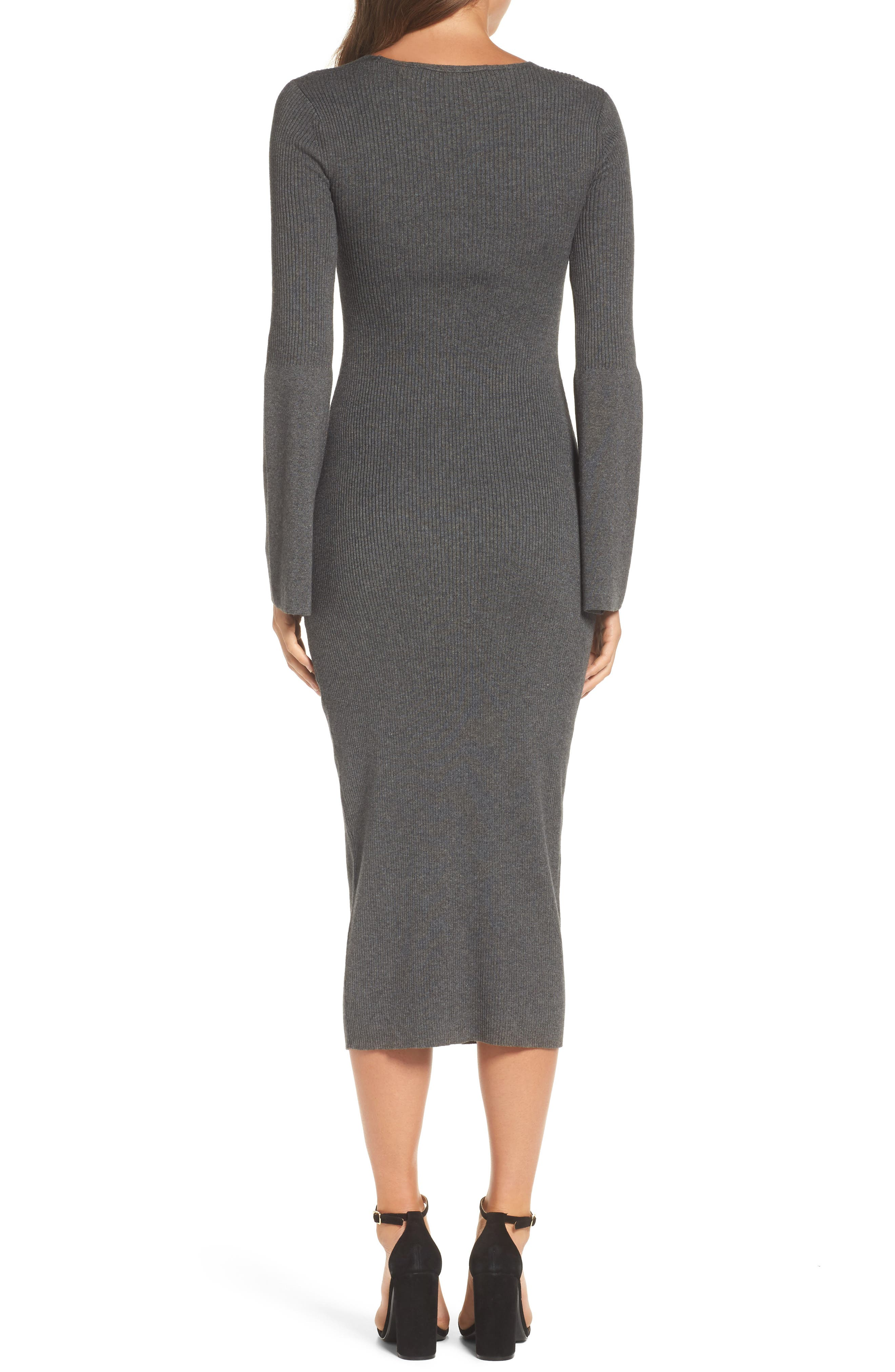 Virgie Knits Midi Dress,                             Alternate thumbnail 2, color,                             Charcoal