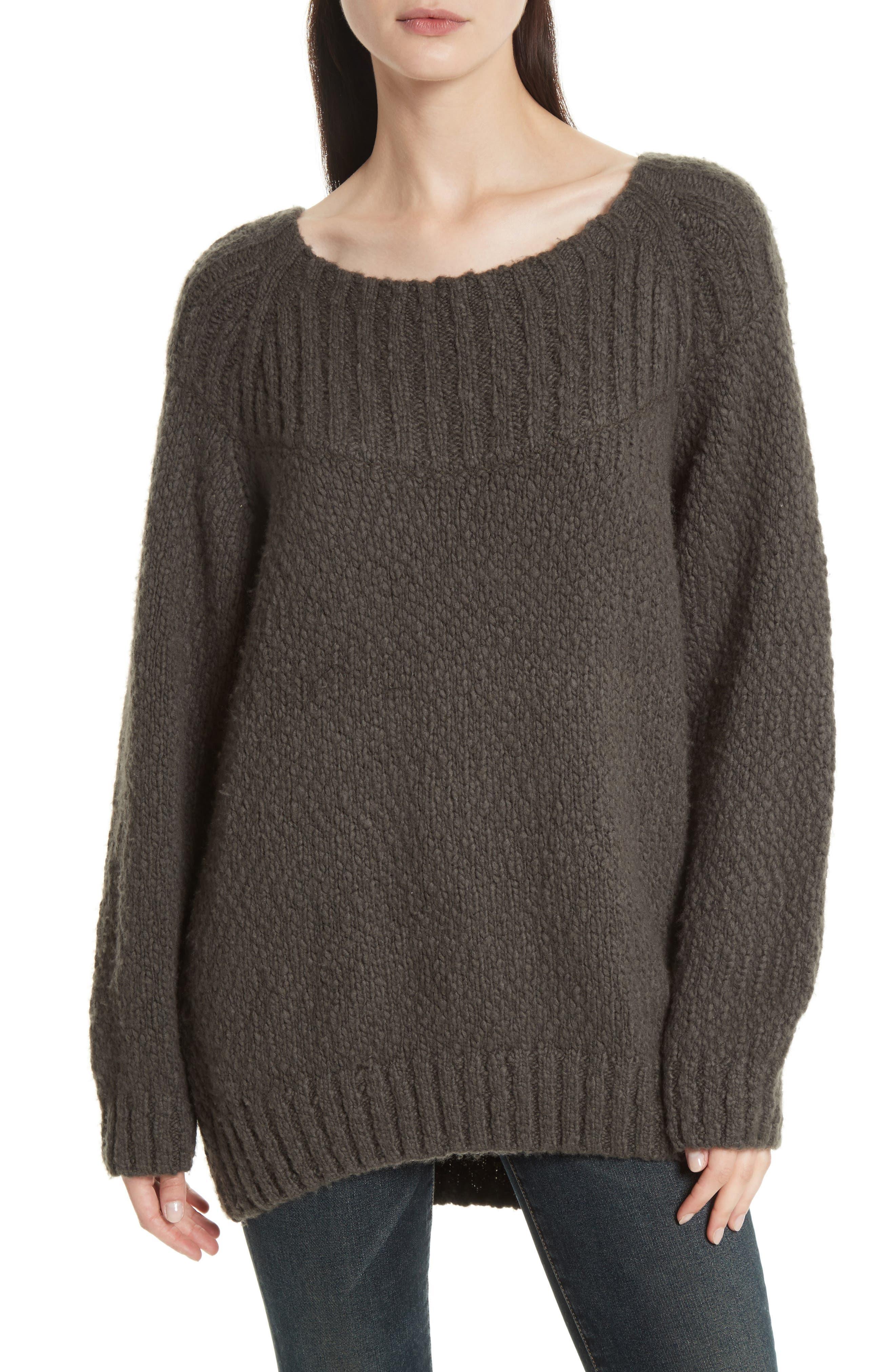 Ribbed Yoke Knit Sweater,                             Main thumbnail 1, color,                             Graphite