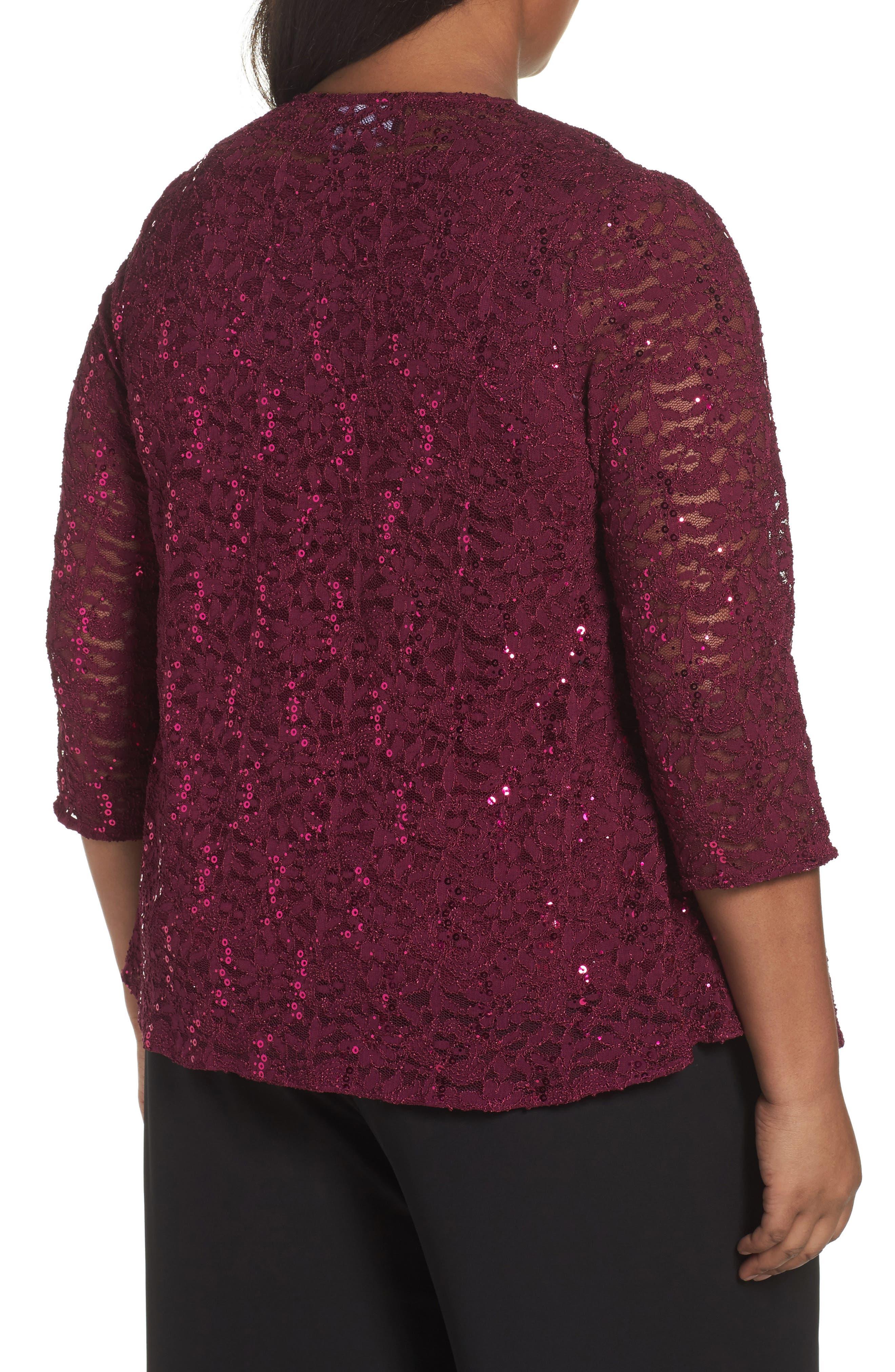 Alternate Image 2  - Alex Evenings Sequin Lace Twinset (Plus Size)