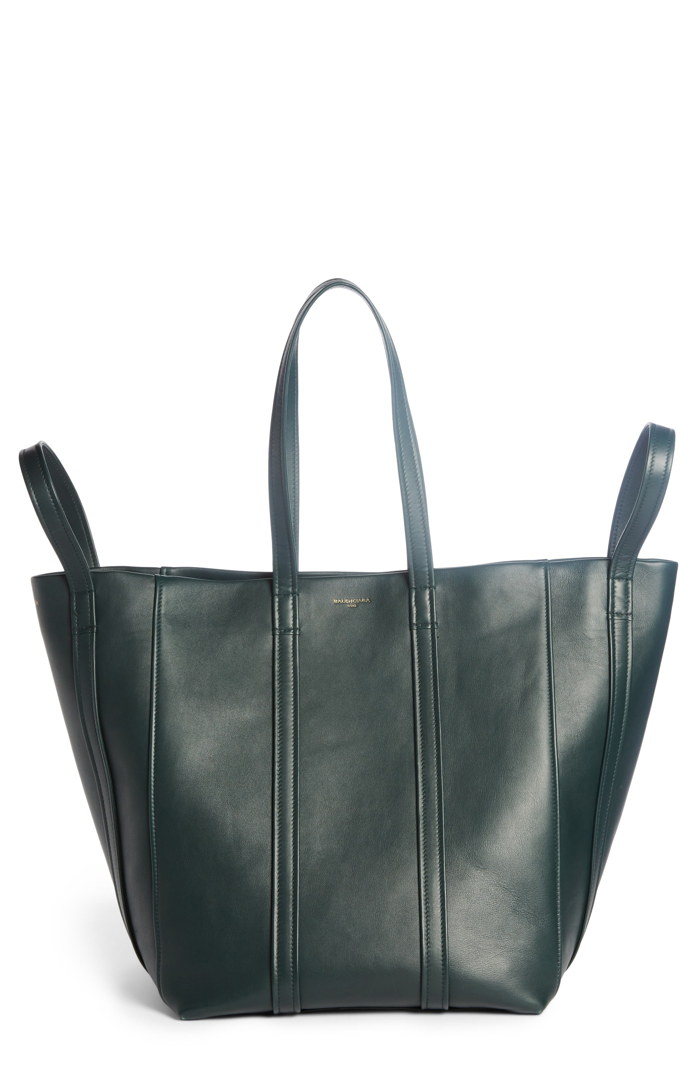 Large Laundry Cabas Calfskin Tote,                         Main,                         color, Vert Cypres