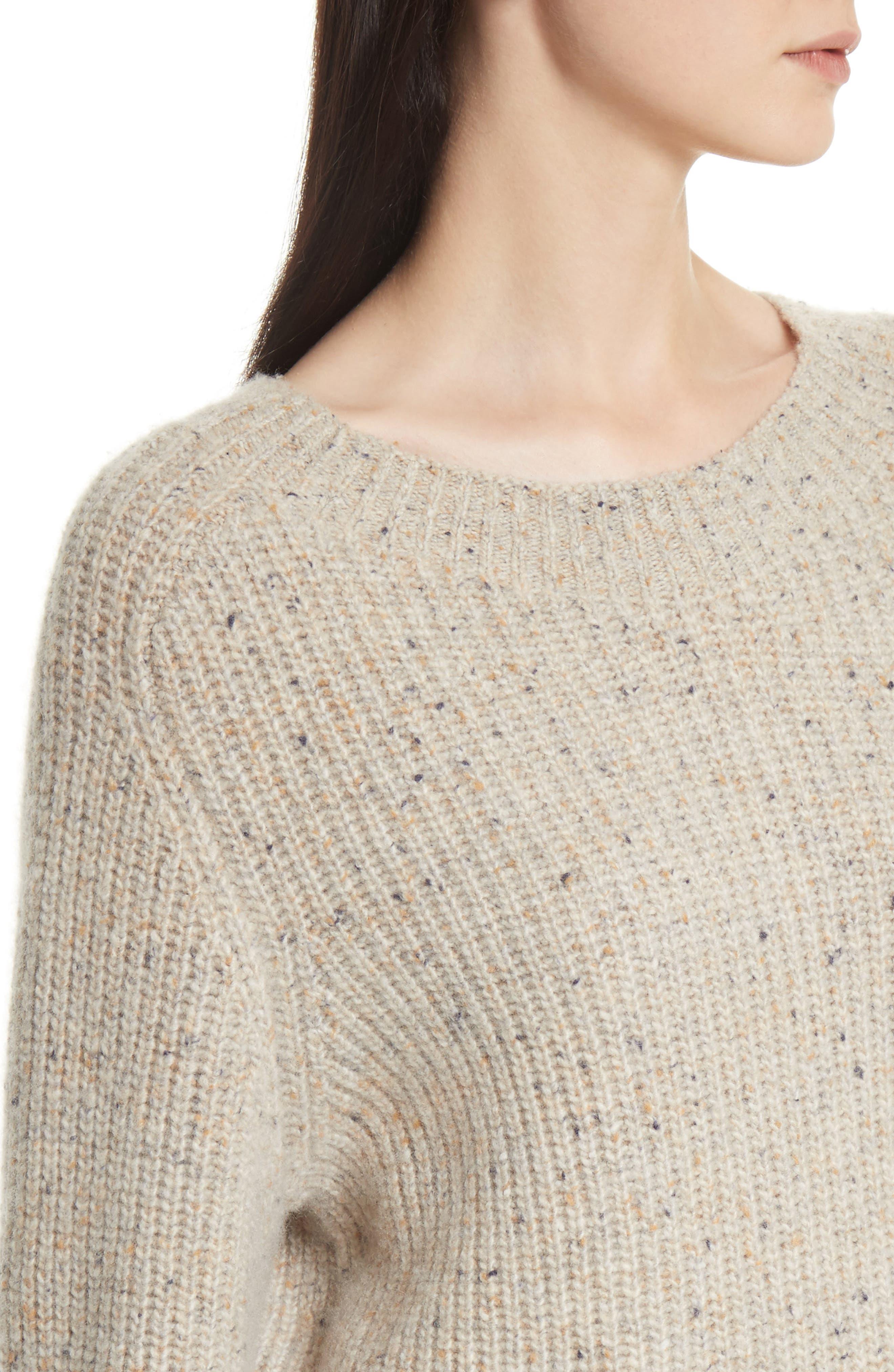 Saddle Sleeve Cashmere Sweater,                             Alternate thumbnail 4, color,                             Light Cream