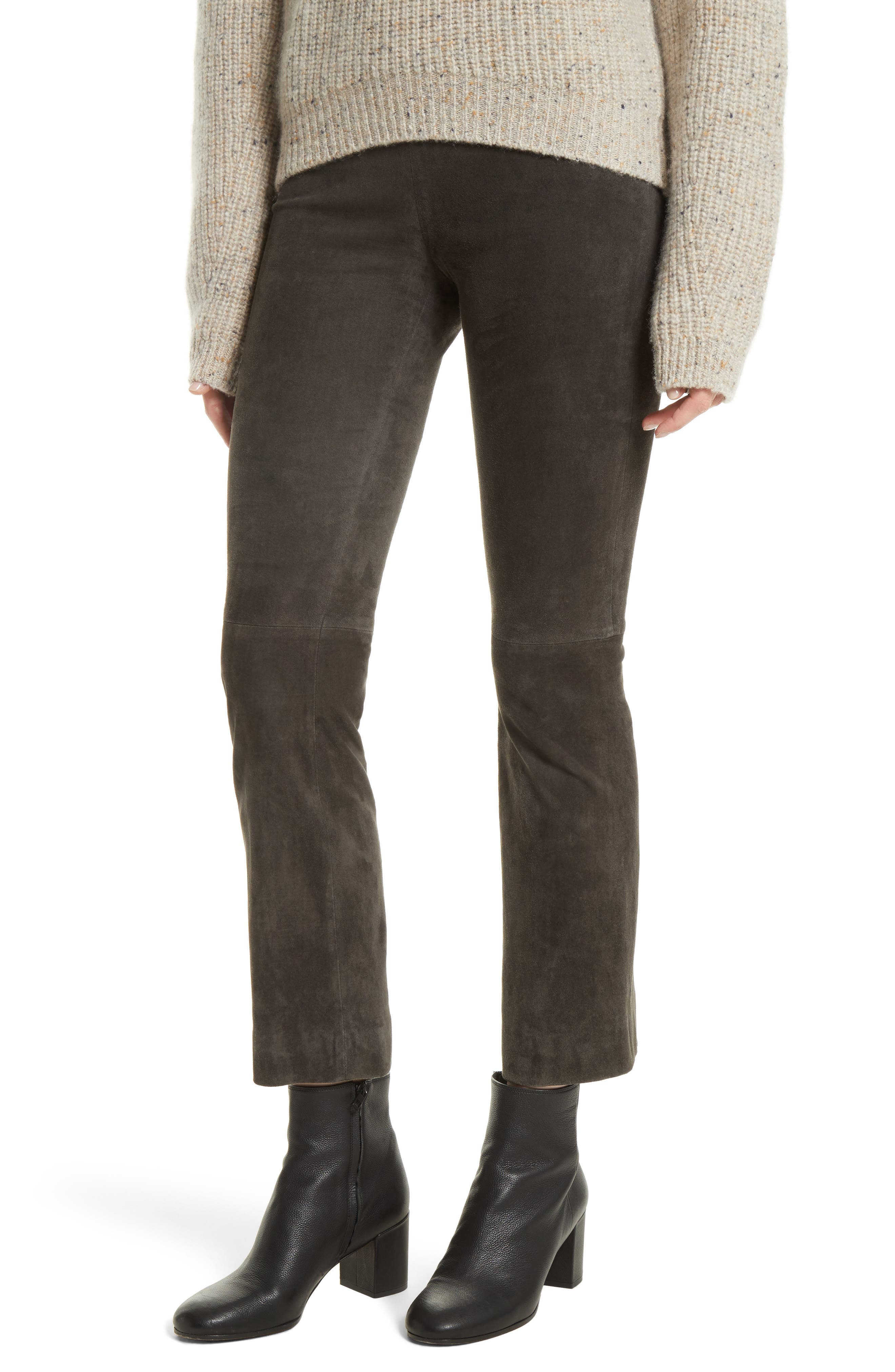 Stretch Suede Crop Flare Pants,                         Main,                         color, Graphite