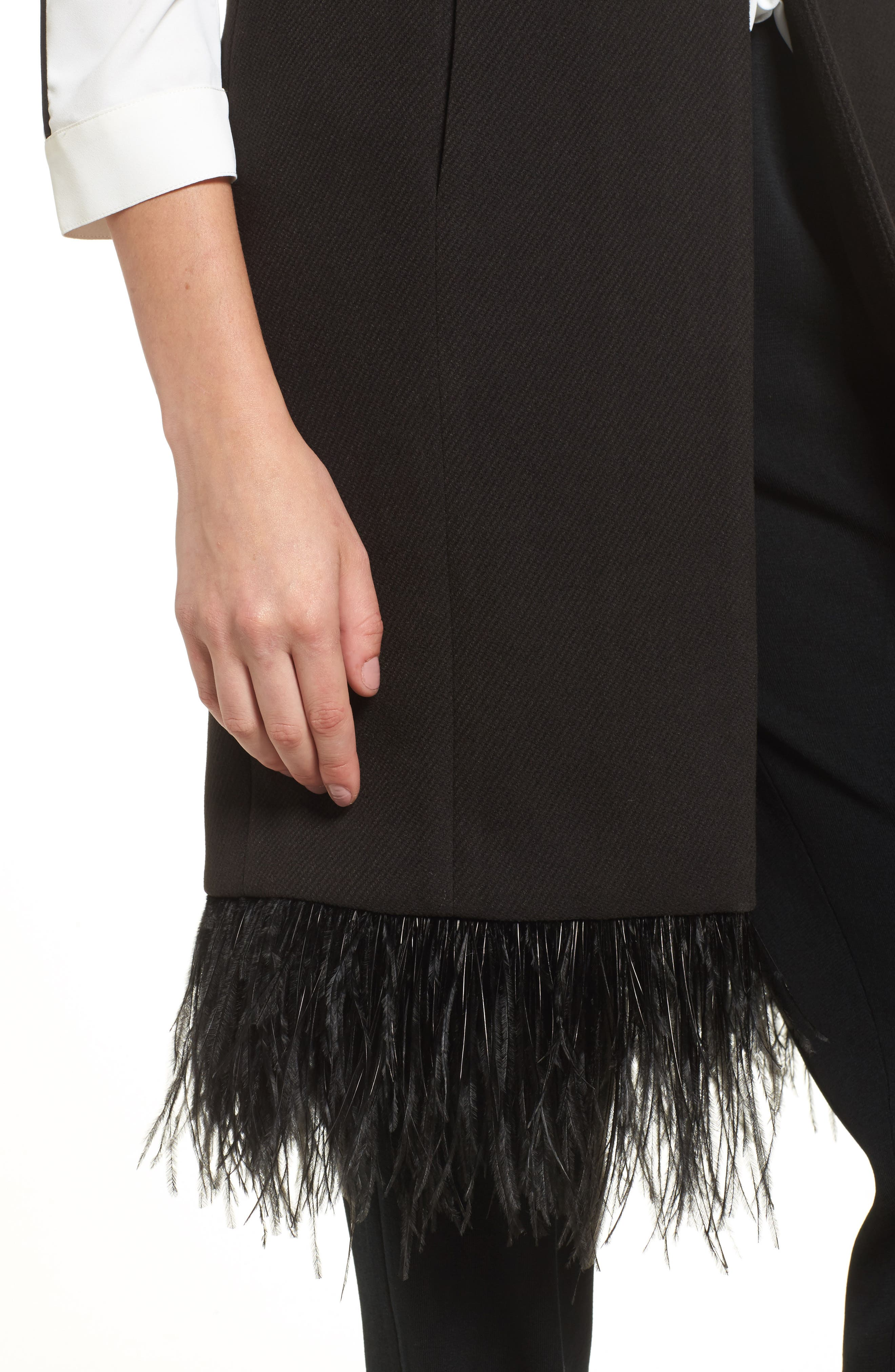 Faux Feather Trim Long Vest,                             Alternate thumbnail 4, color,                             Black