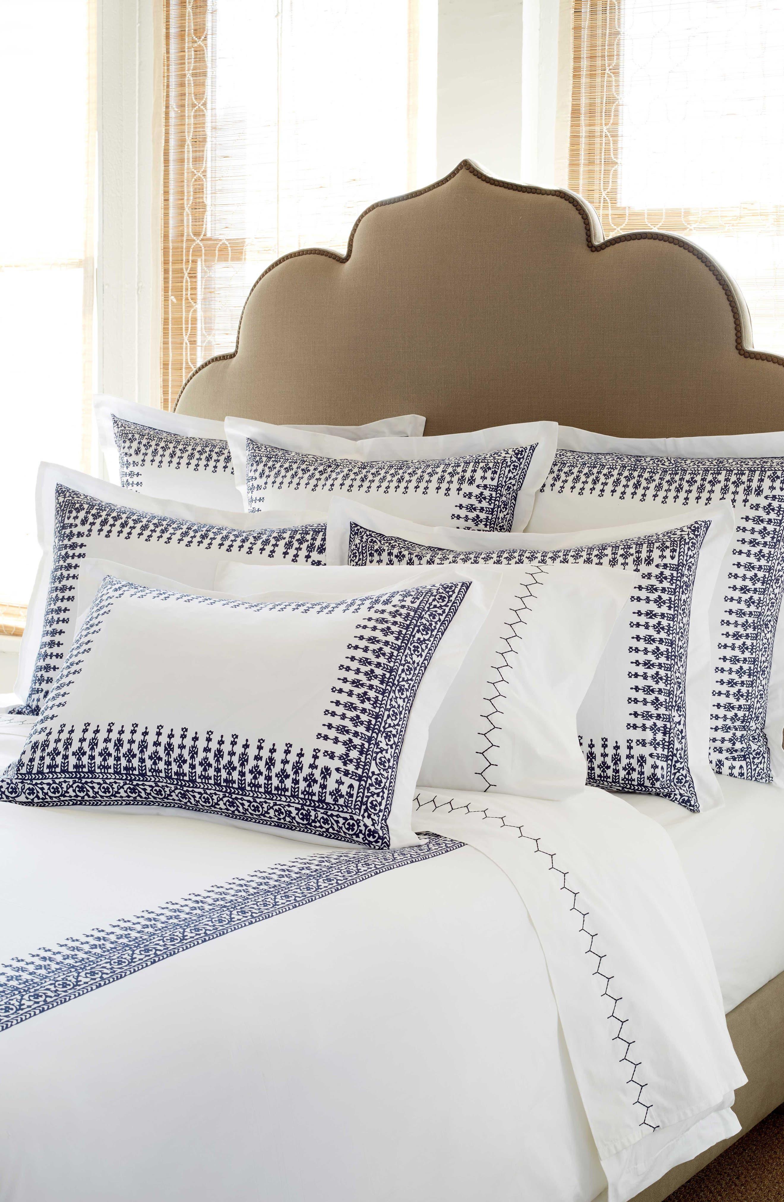 Makki Indigo Duvet Cover,                         Main,                         color, White