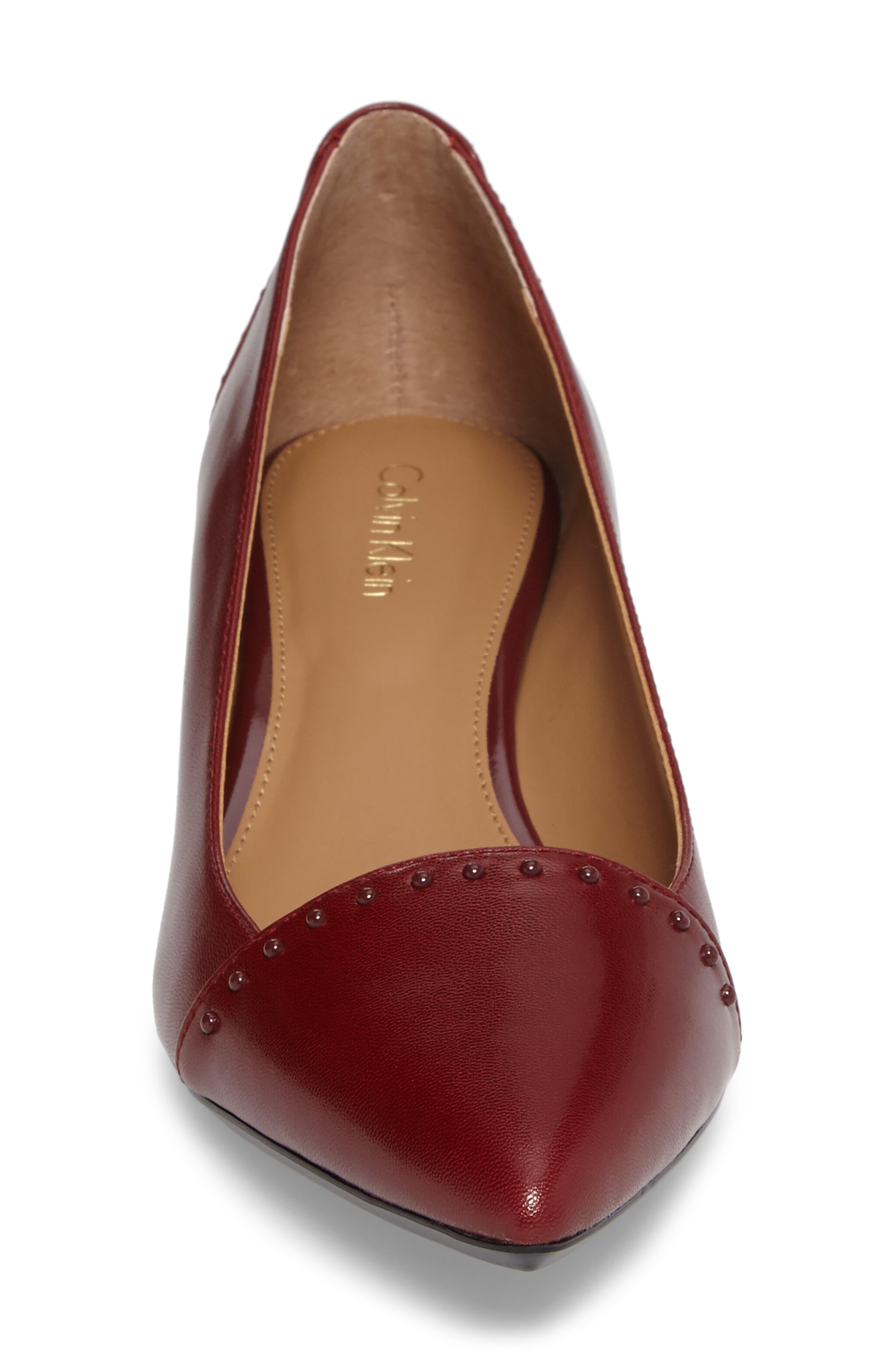 Griselda Studded Cap Toe Pump,                             Alternate thumbnail 4, color,                             Cherry Red