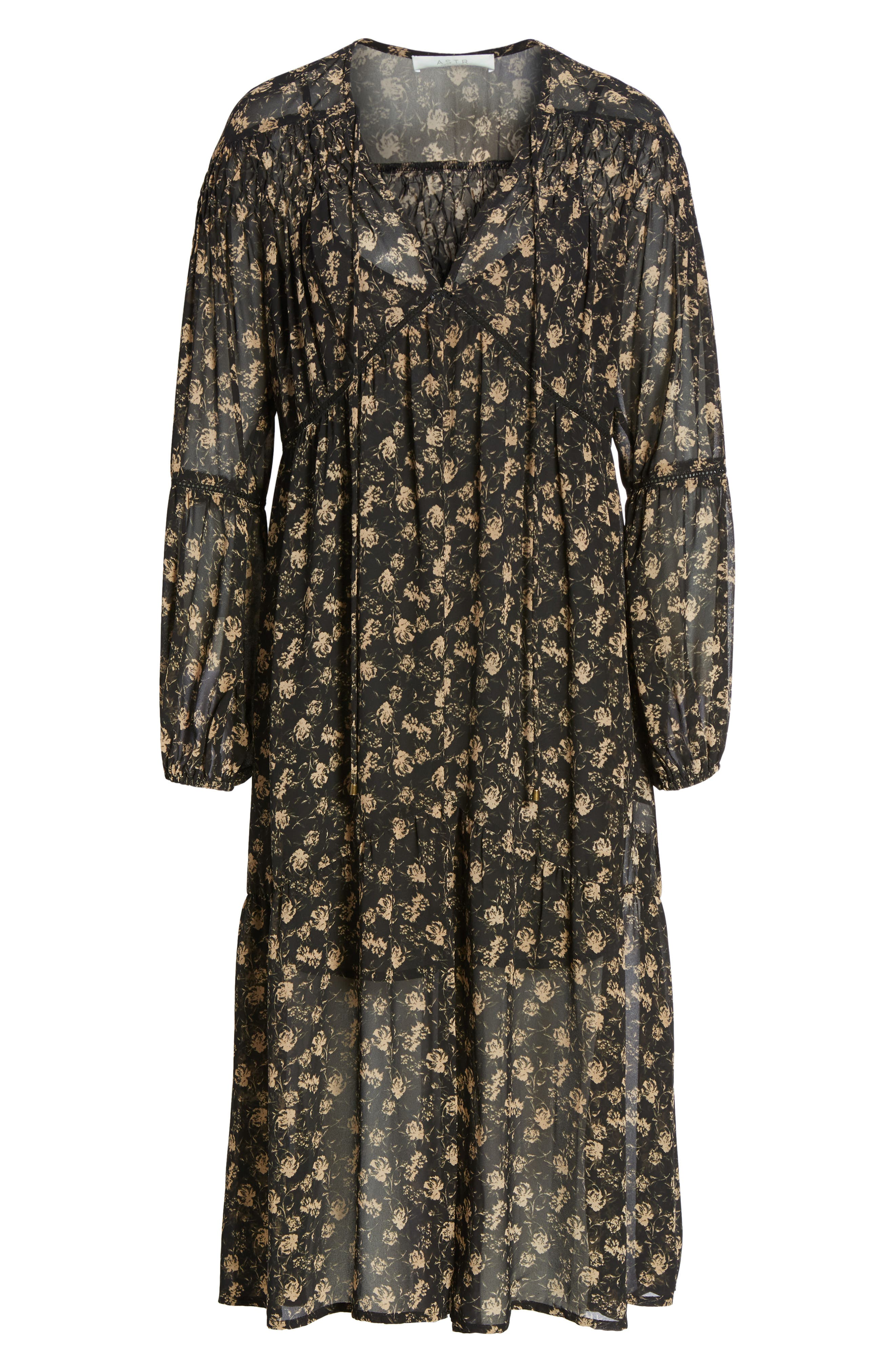 Ambrosia Shift Dress,                             Alternate thumbnail 7, color,                             Black-Tan Floral
