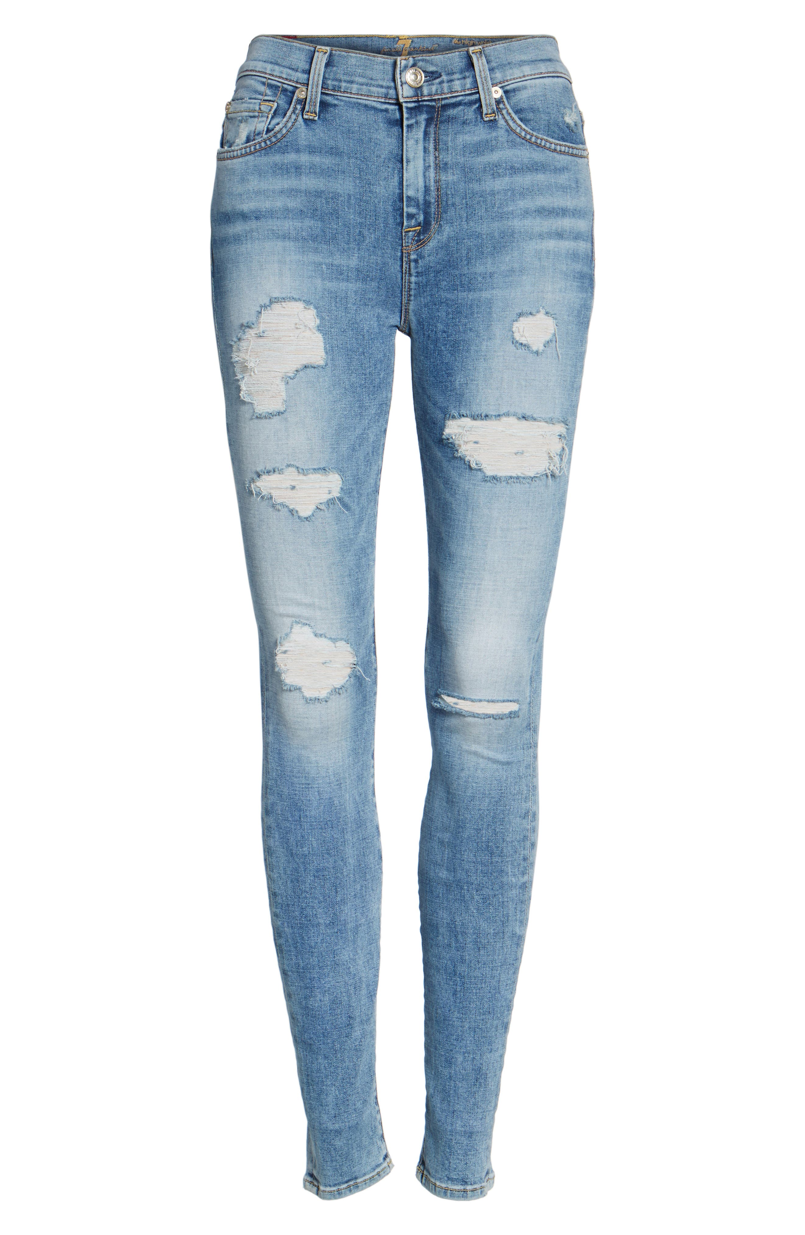 Alternate Image 6  - 7 For All Mankind® Ripped High Waist Skinny Jeans (Light Lafayette)