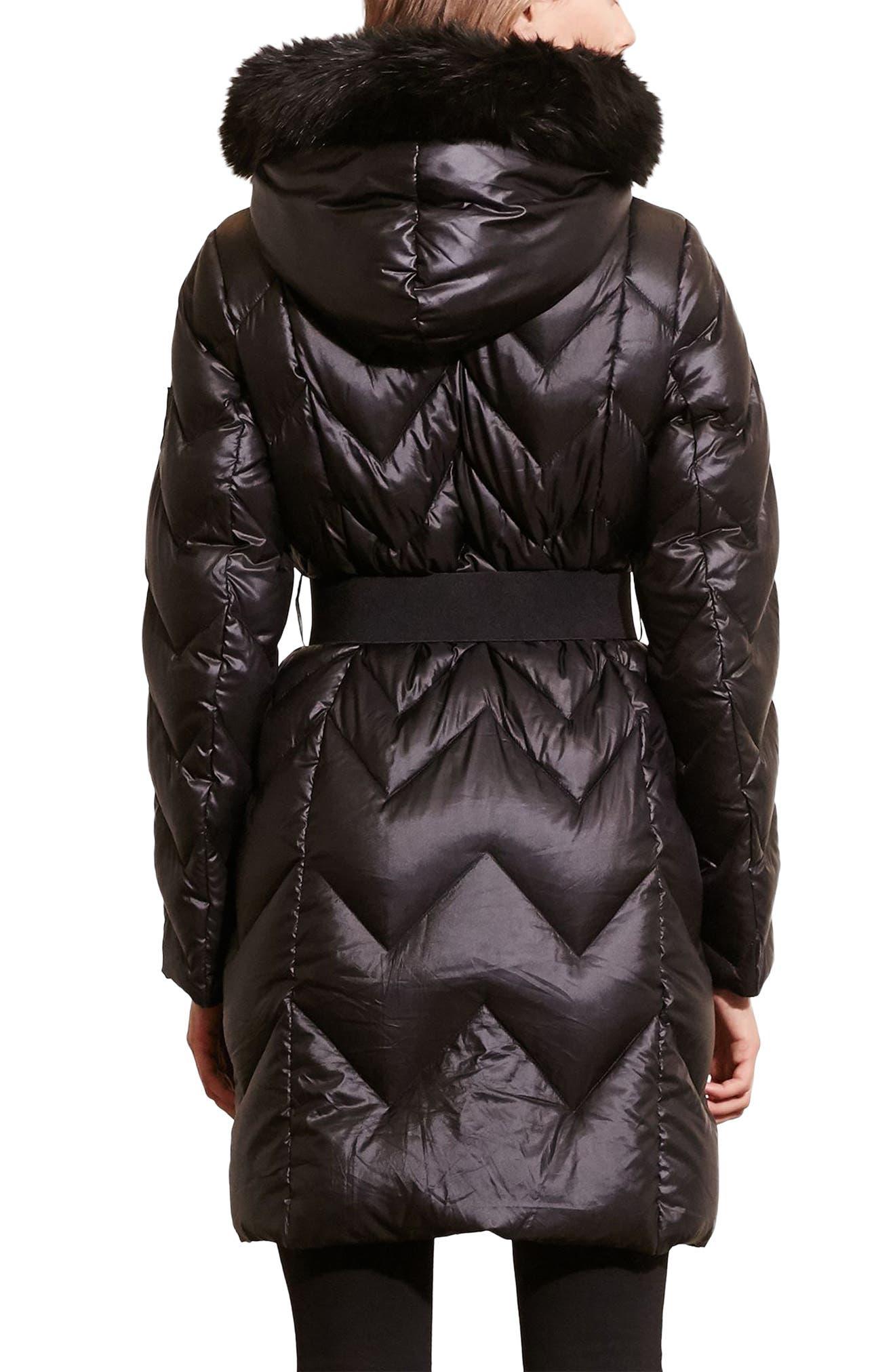 Belted Down Coat with Faux Fur Trim,                             Alternate thumbnail 3, color,                             Black