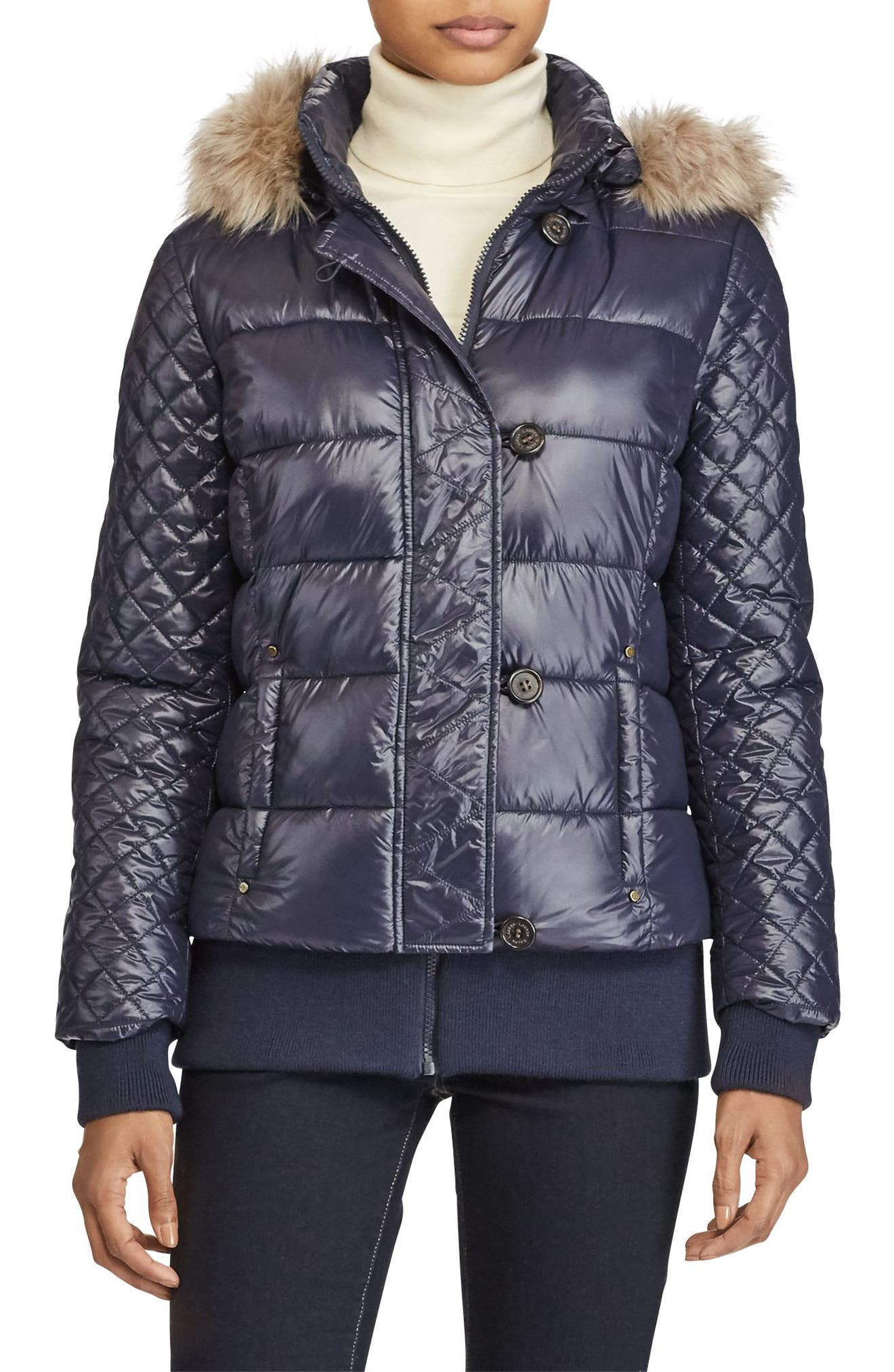 Quilted Jacket with Faux Fur Trim,                         Main,                         color, Navy
