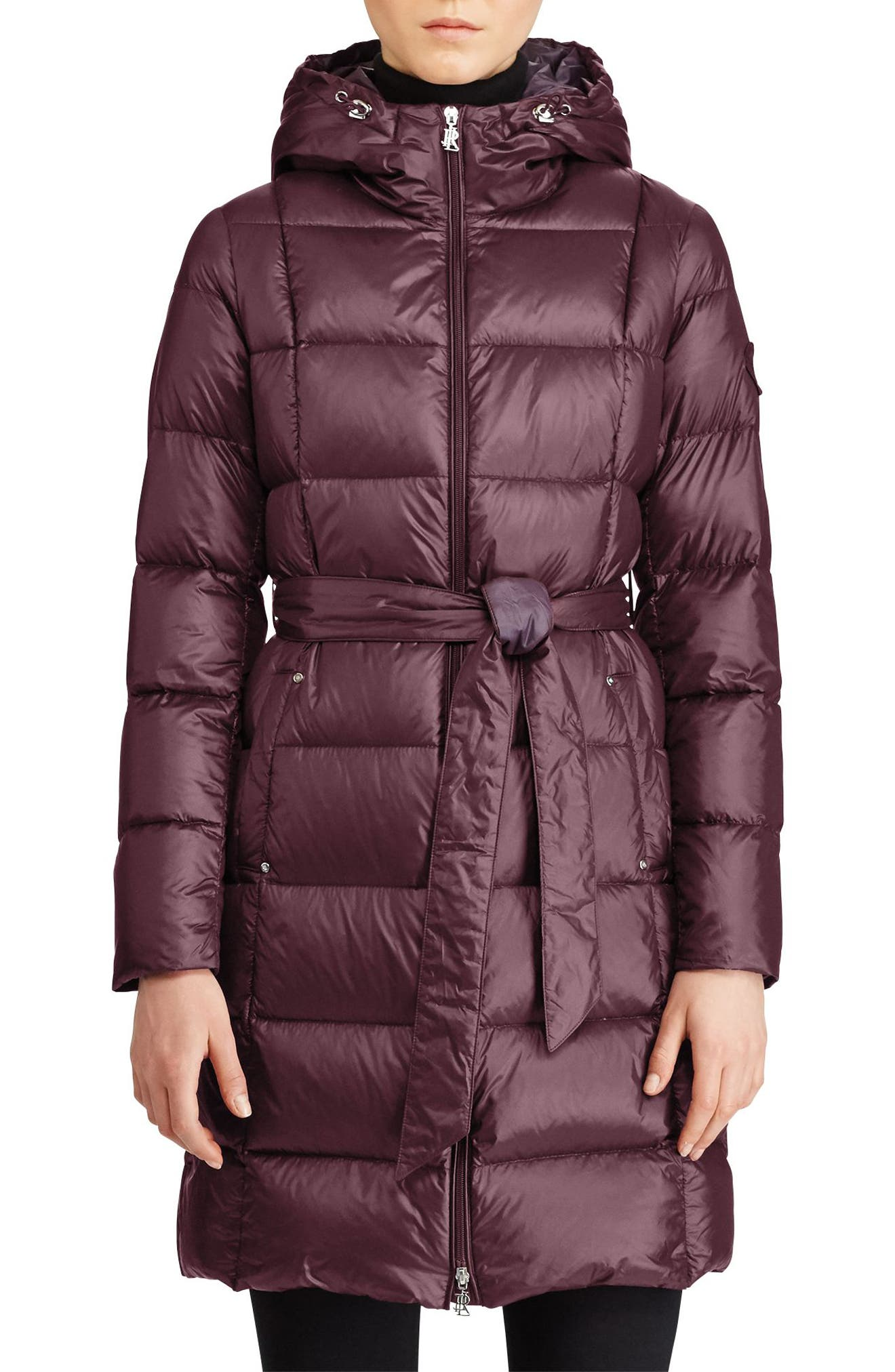Packable Belted Down Jacket,                             Main thumbnail 1, color,                             Burgundy/ Aubergine