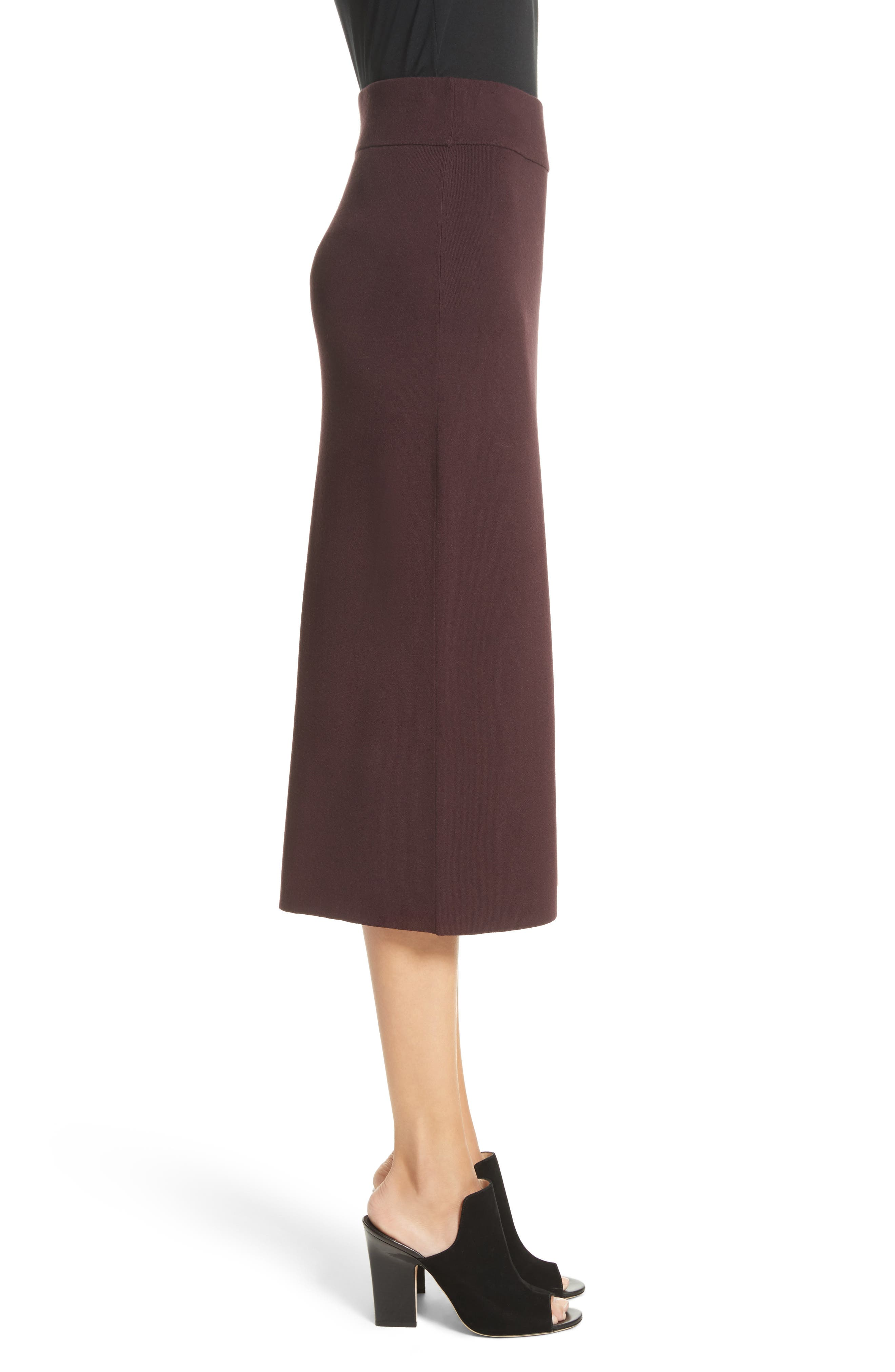 Smith Knit Pencil Skirt,                             Alternate thumbnail 4, color,                             Raisin