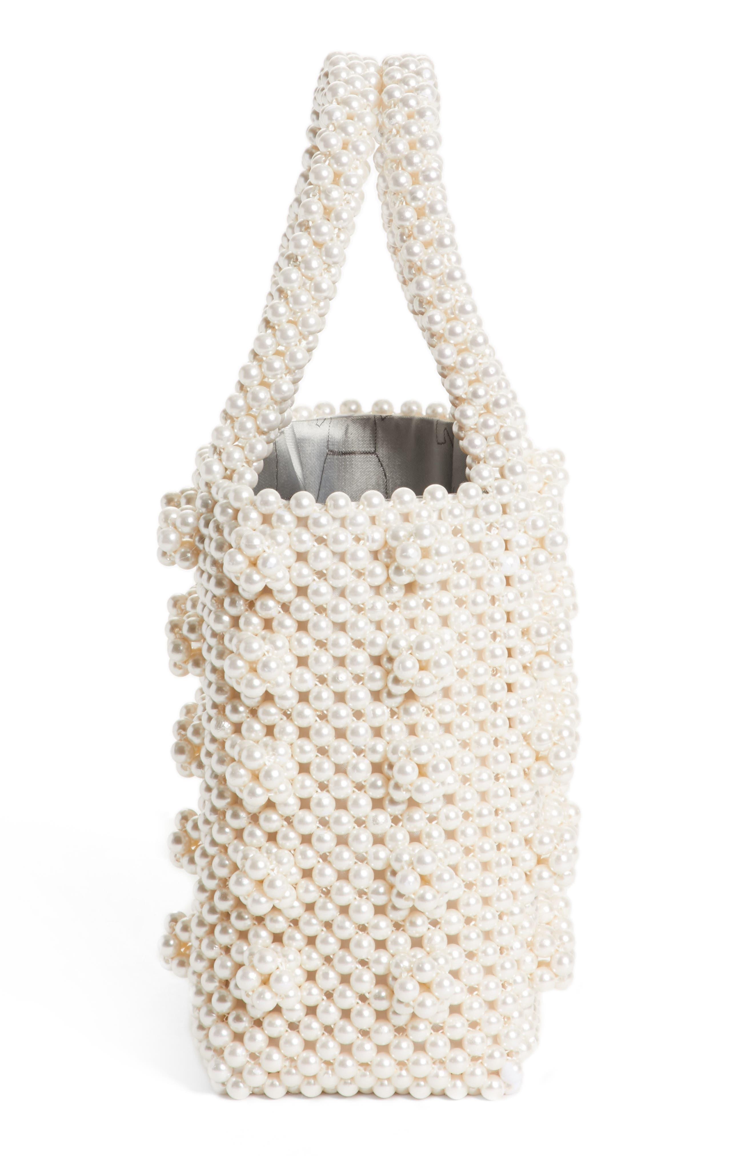 Antonia Small Imitation Pearl Beaded Handbag,                             Alternate thumbnail 4, color,                             Cream