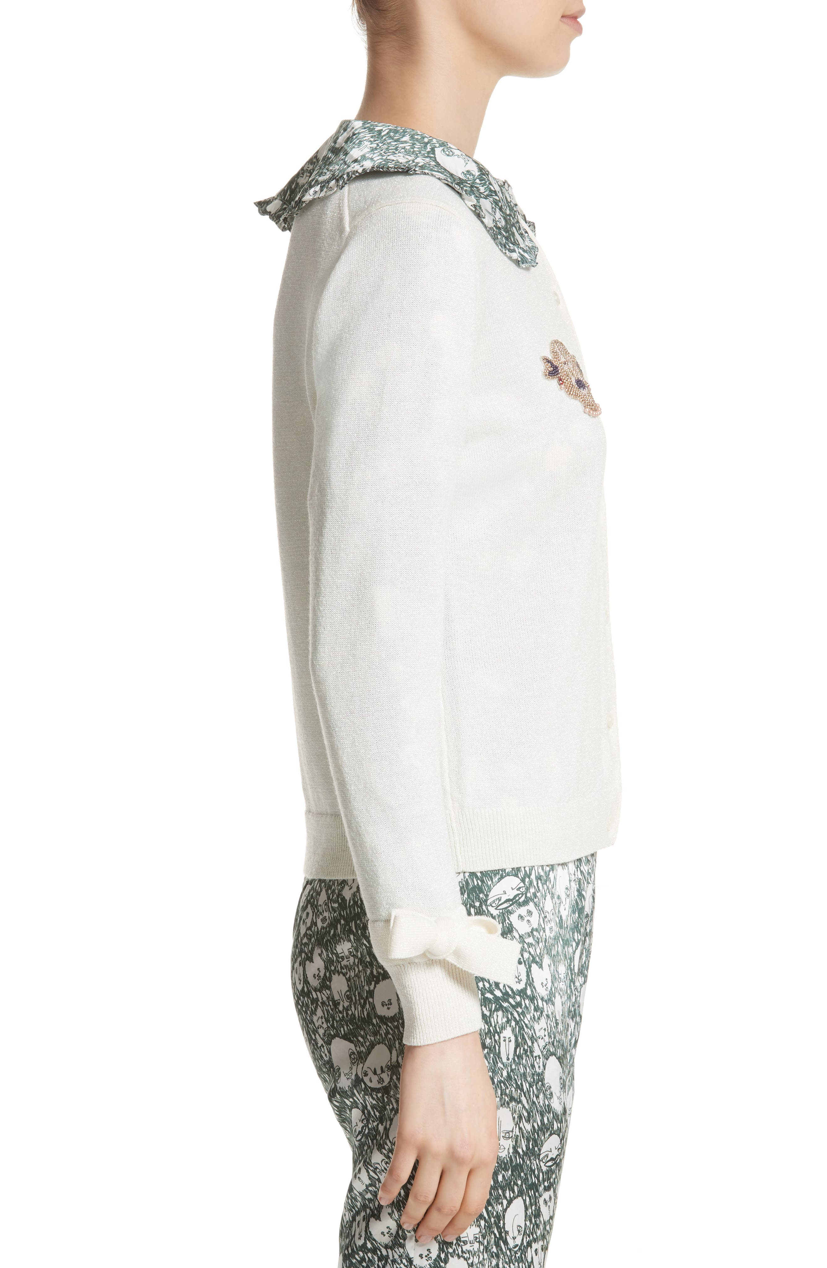 Lorna Embellished Bow Cuff Cardigan,                             Alternate thumbnail 3, color,                             Cream Lurex