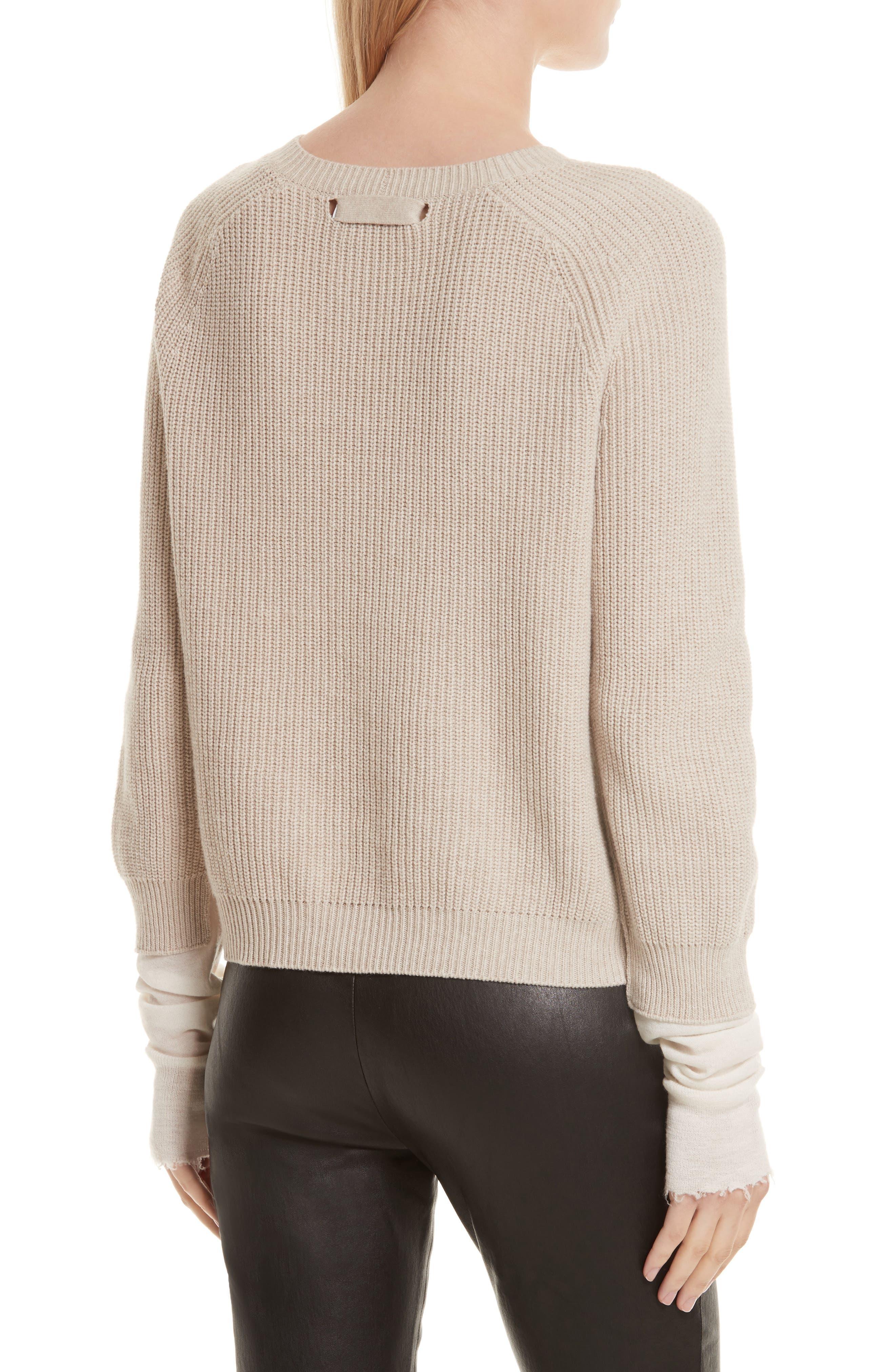 Layered Rib Pullover,                             Alternate thumbnail 2, color,                             Linen