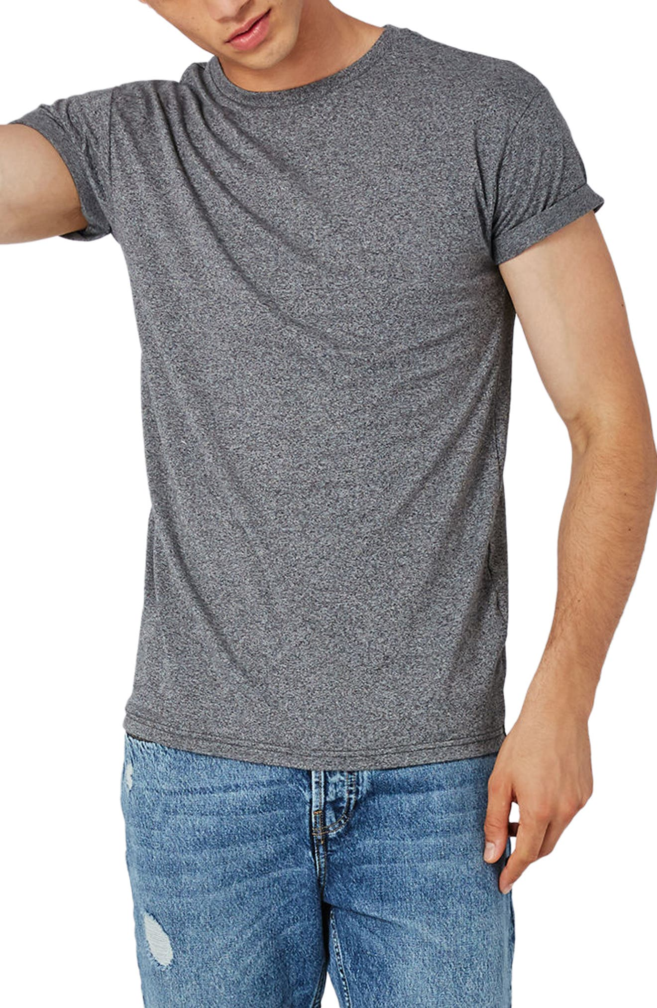 Muscle Fit Roll Sleeve T-Shirt,                         Main,                         color, Grey