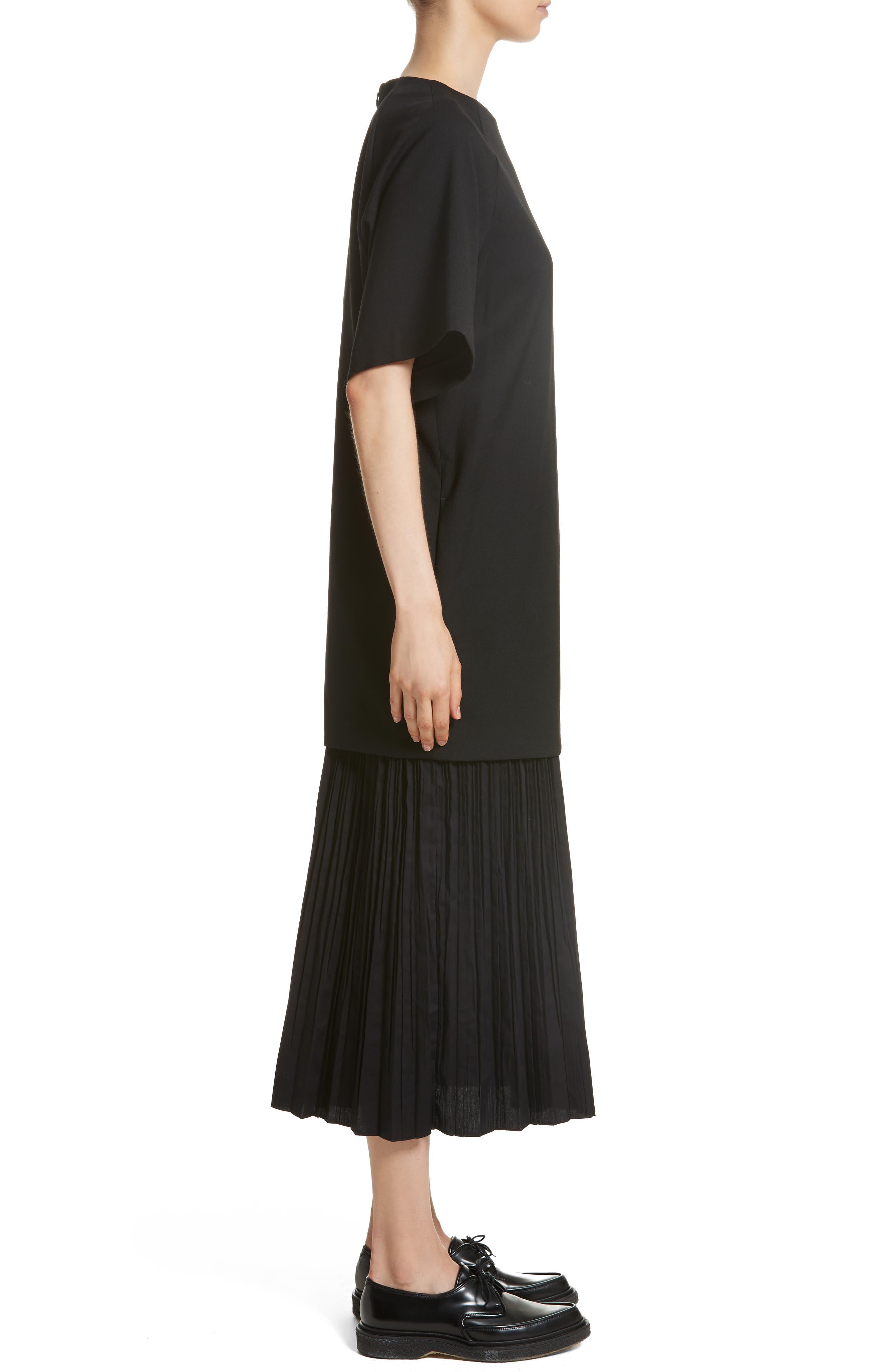 K Bottom Pleated Dress,                             Alternate thumbnail 4, color,                             Black