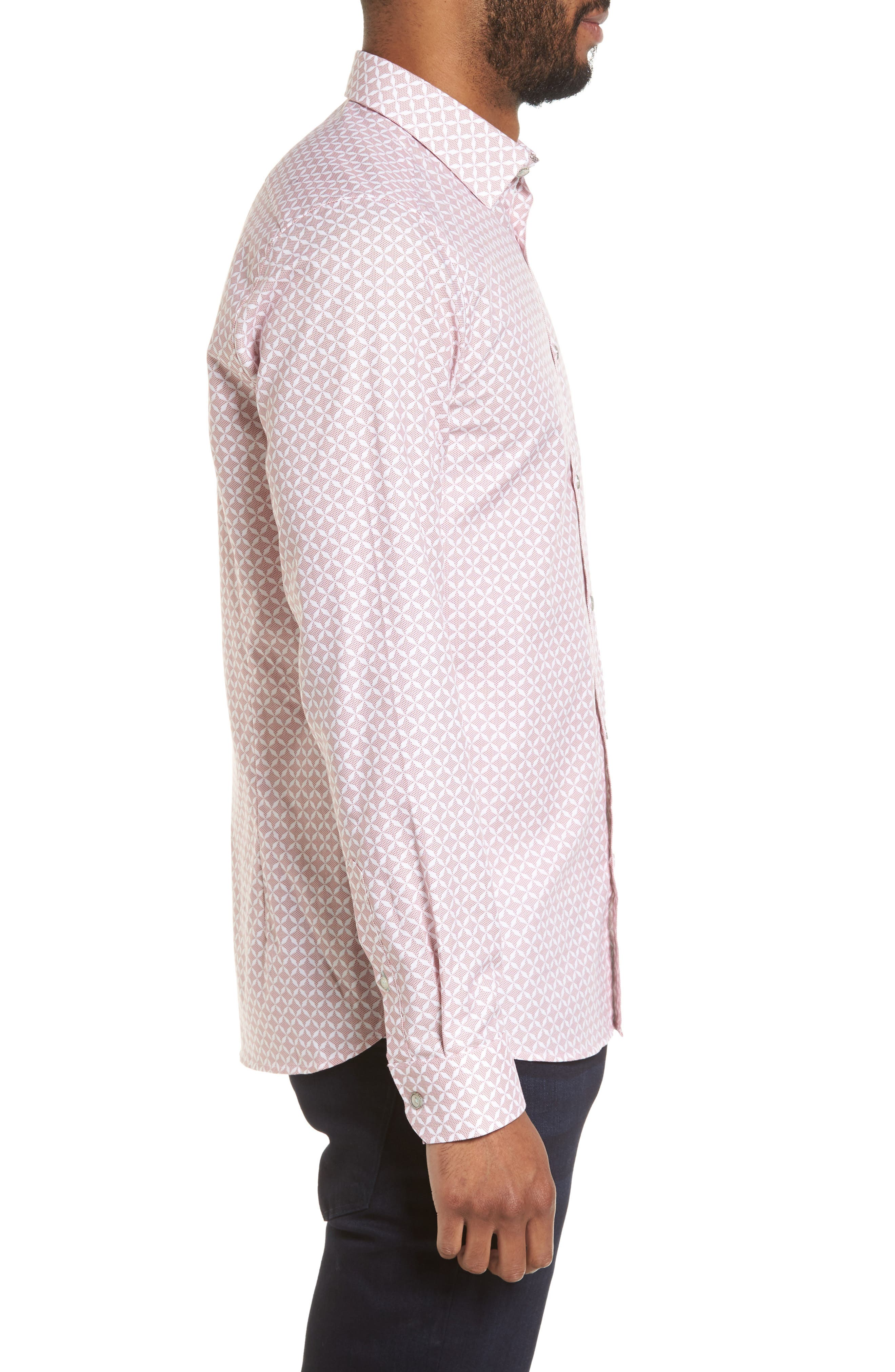 Langaz Dot Lattice Sport Shirt,                             Alternate thumbnail 3, color,                             Pink