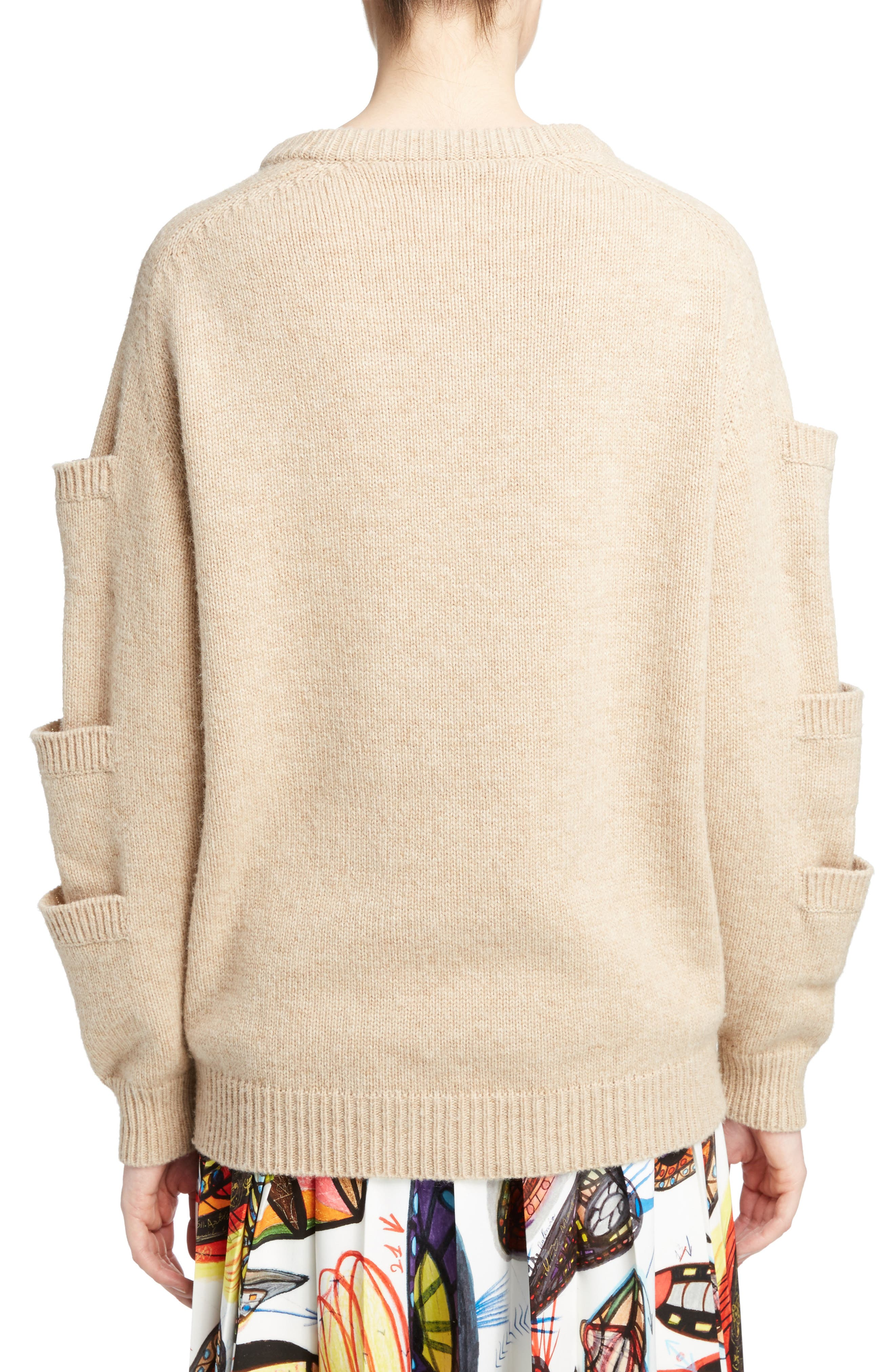 Sleeve Pocket Wool Sweater,                             Alternate thumbnail 2, color,                             Oatmeal