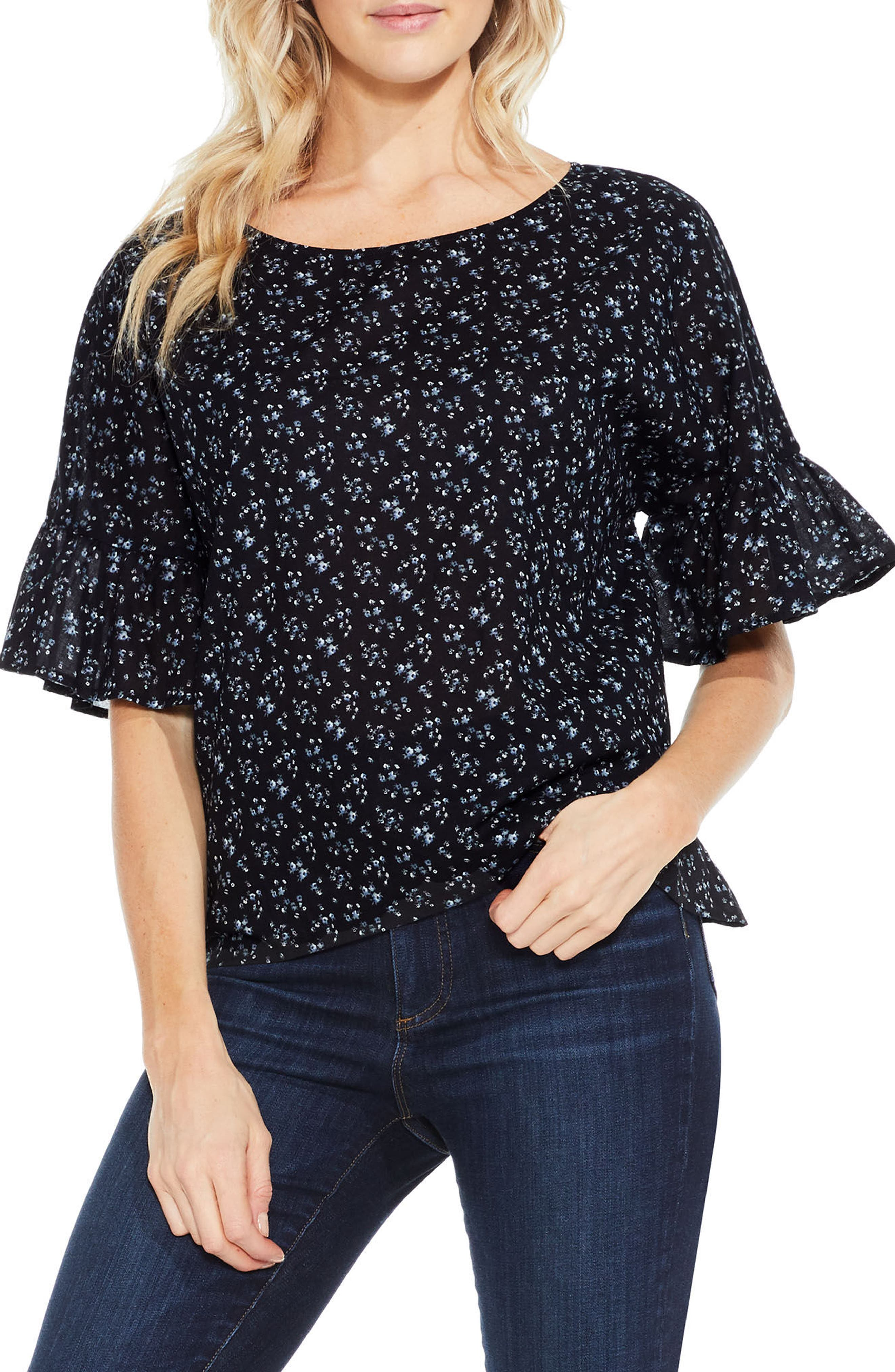 Main Image - Two by Vince Camuto Mini Bouquets Bell Sleeve Blouse