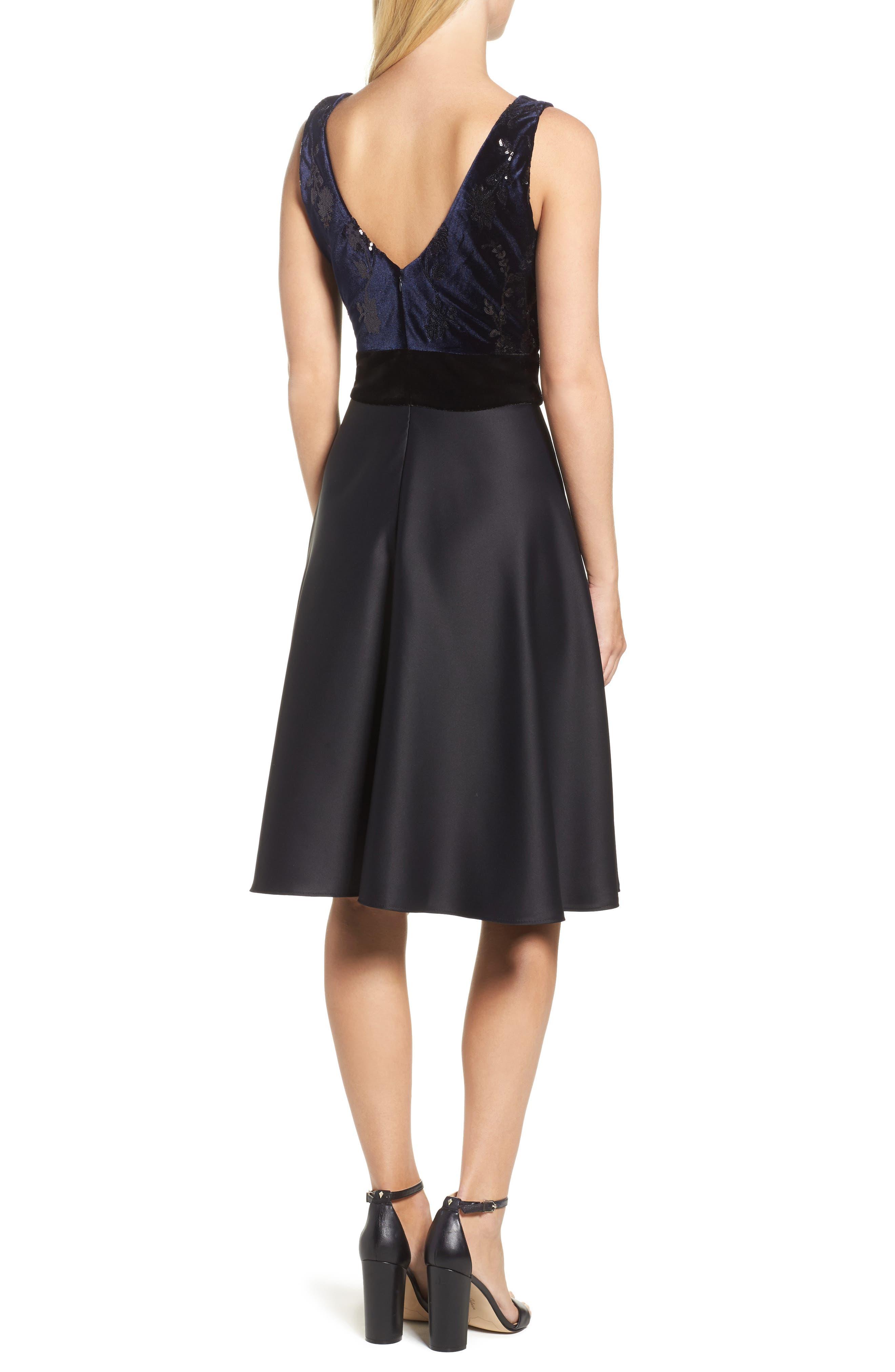 Fit & Flare Dress,                             Alternate thumbnail 2, color,                             Navy Black