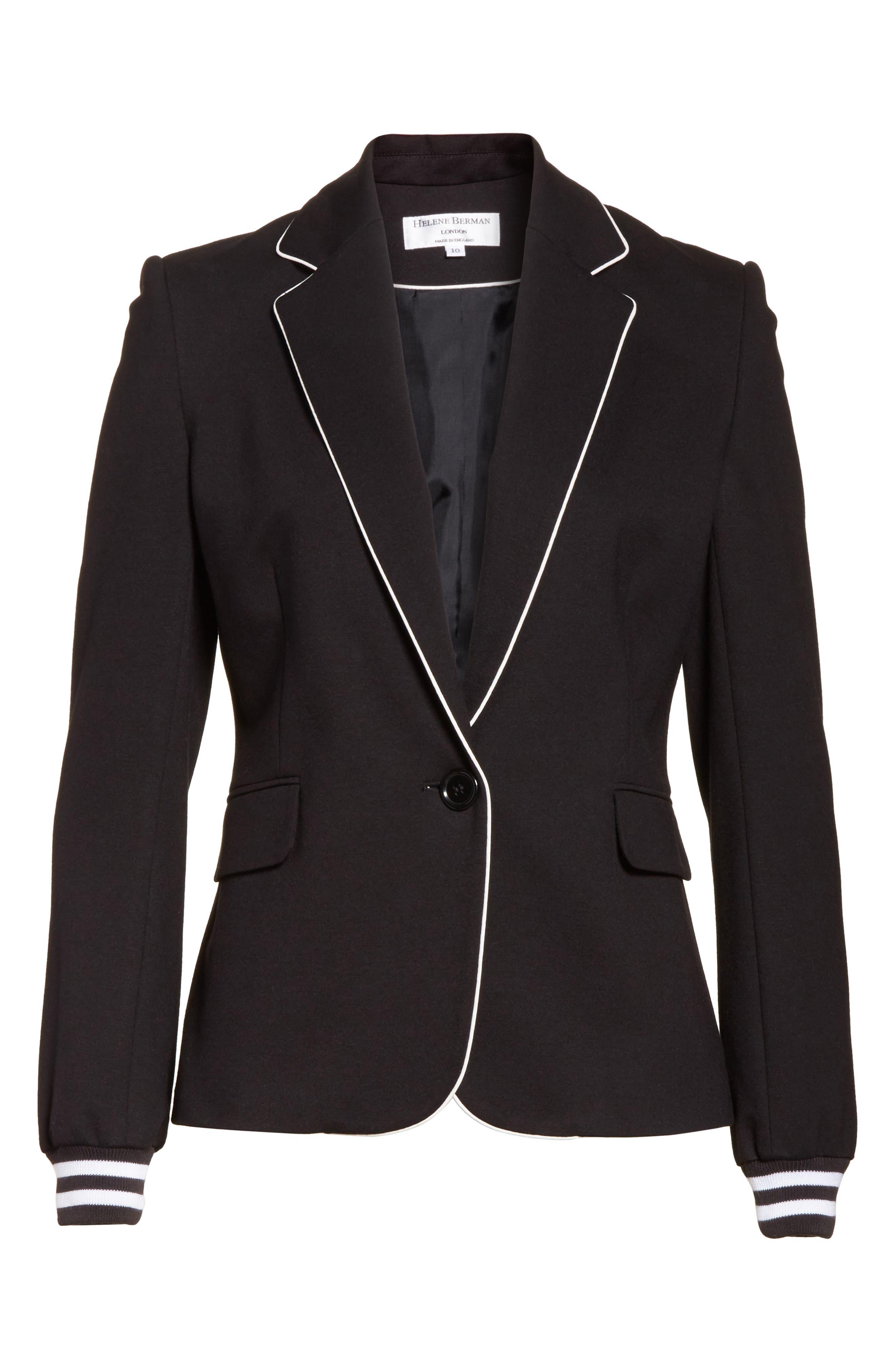 Piped Jersey Blazer,                             Alternate thumbnail 6, color,                             Black/ White