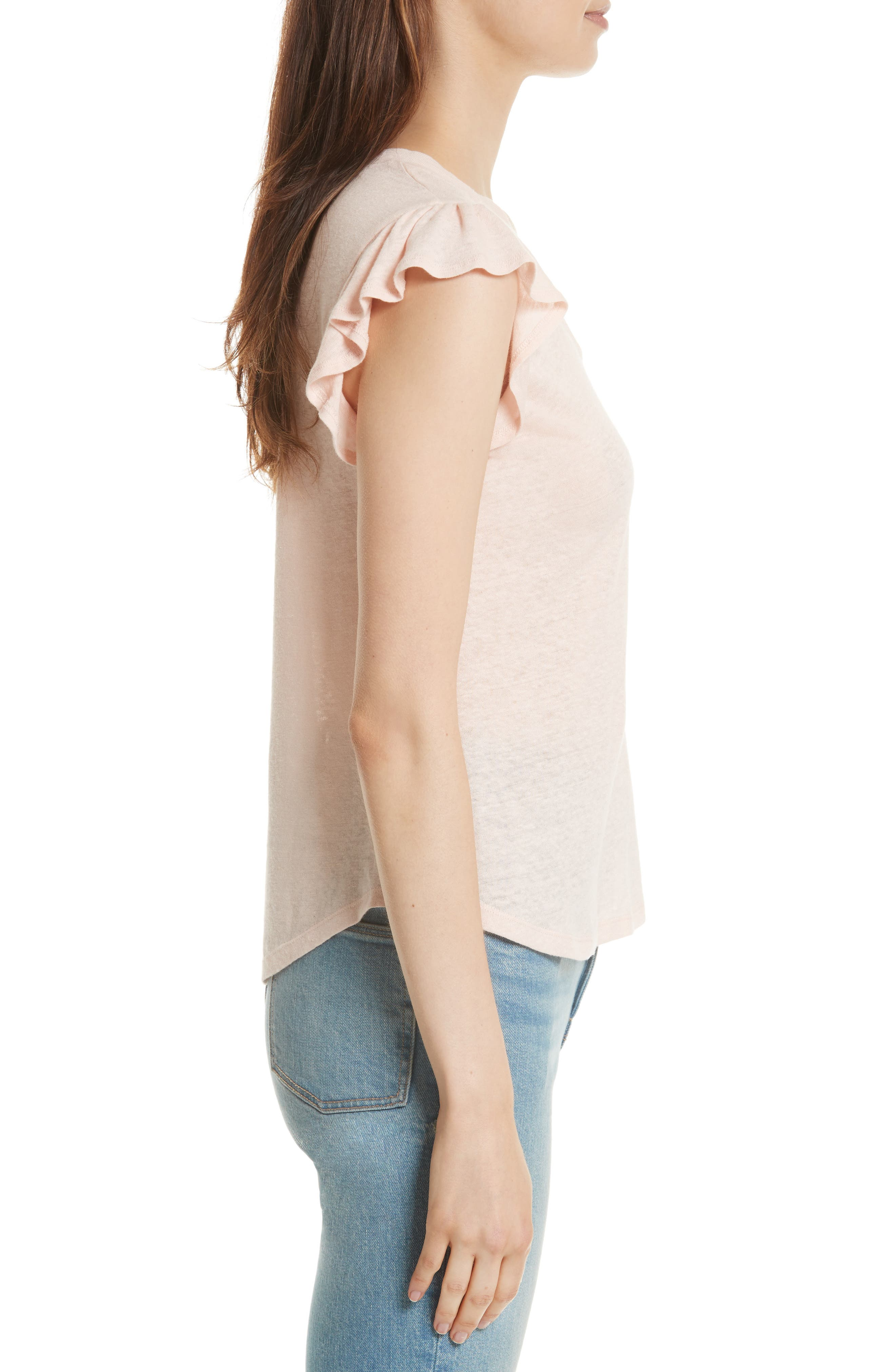 Alternate Image 3  - La Vie Rebecca Taylor Ruffle Sleeve Washed Jersey Top