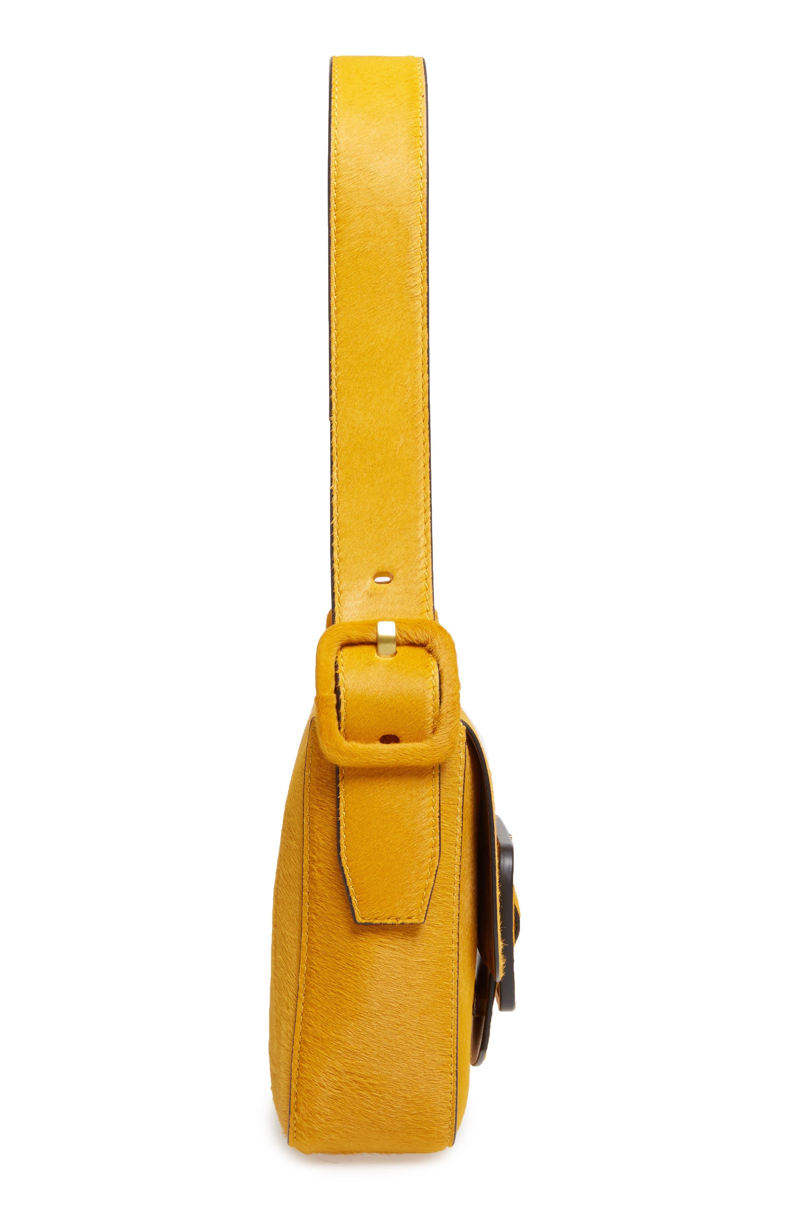 Small Sawyer Genuine Calf Hair Shoulder Bag,                             Alternate thumbnail 4, color,                             Curry