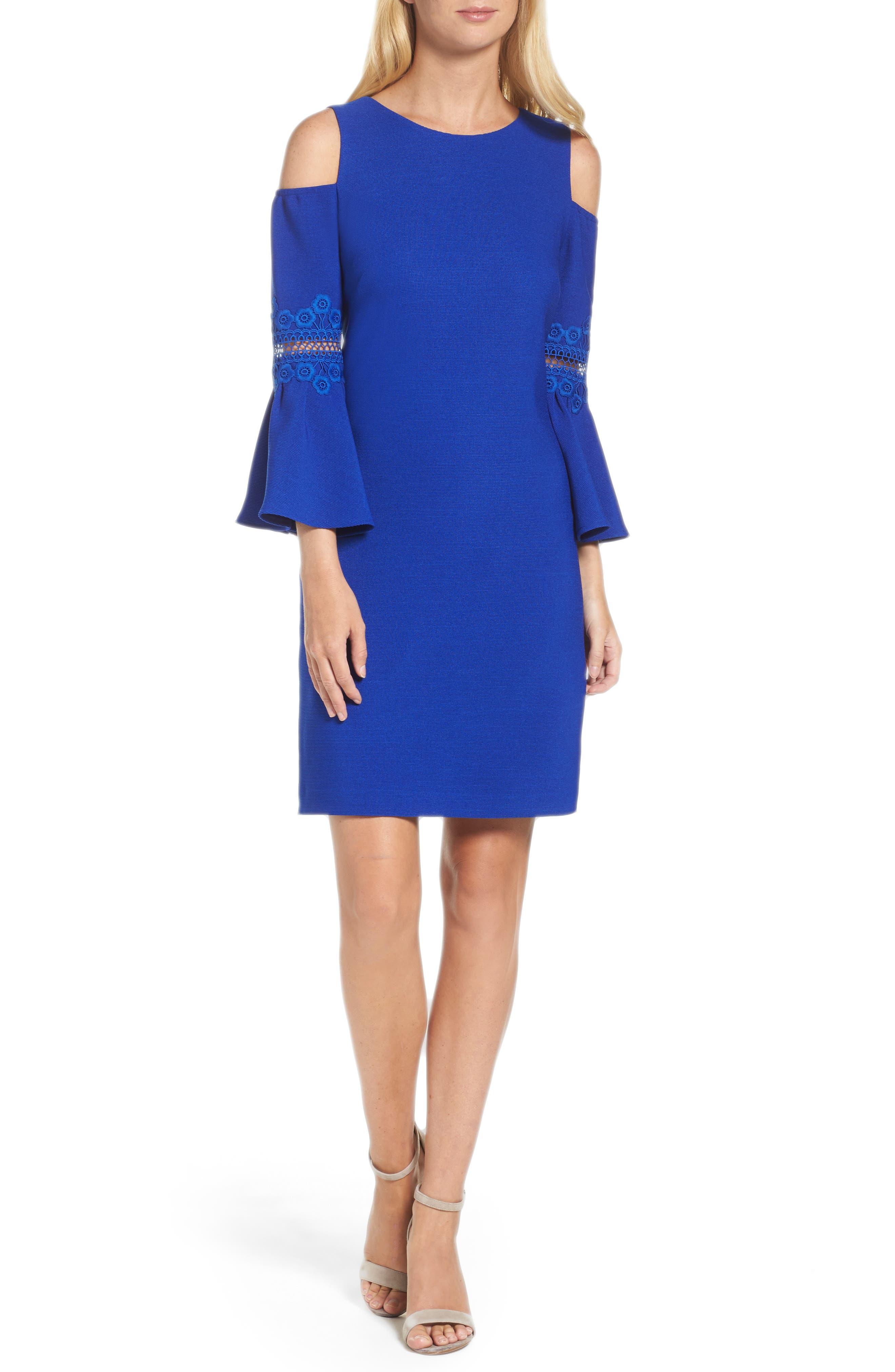 Lace Appliqué Crepe Cold Shoulder Dress,                         Main,                         color, Cobalt