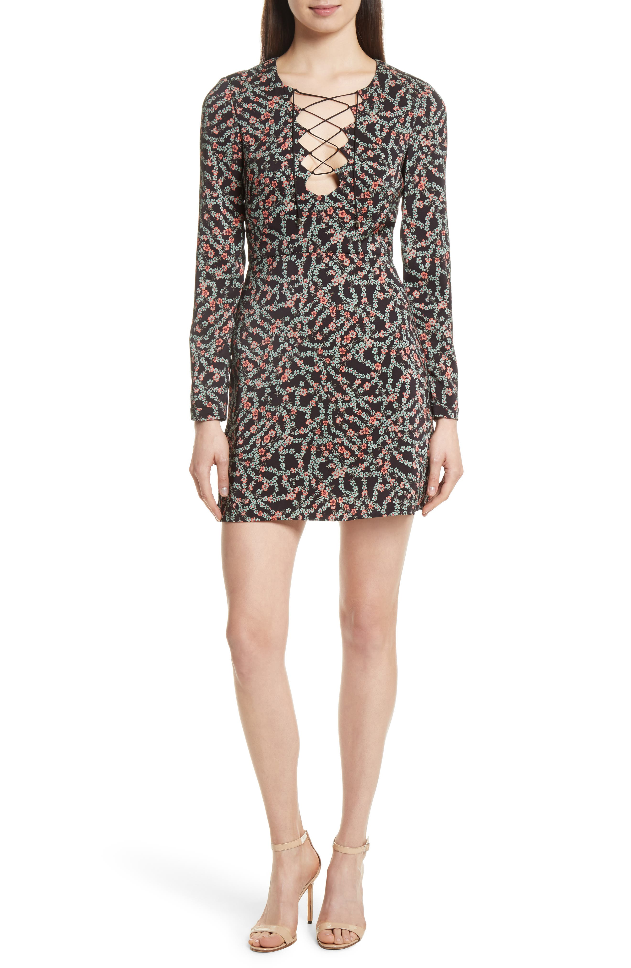 SALONI Nurul Floral Print Lace-Up Dress
