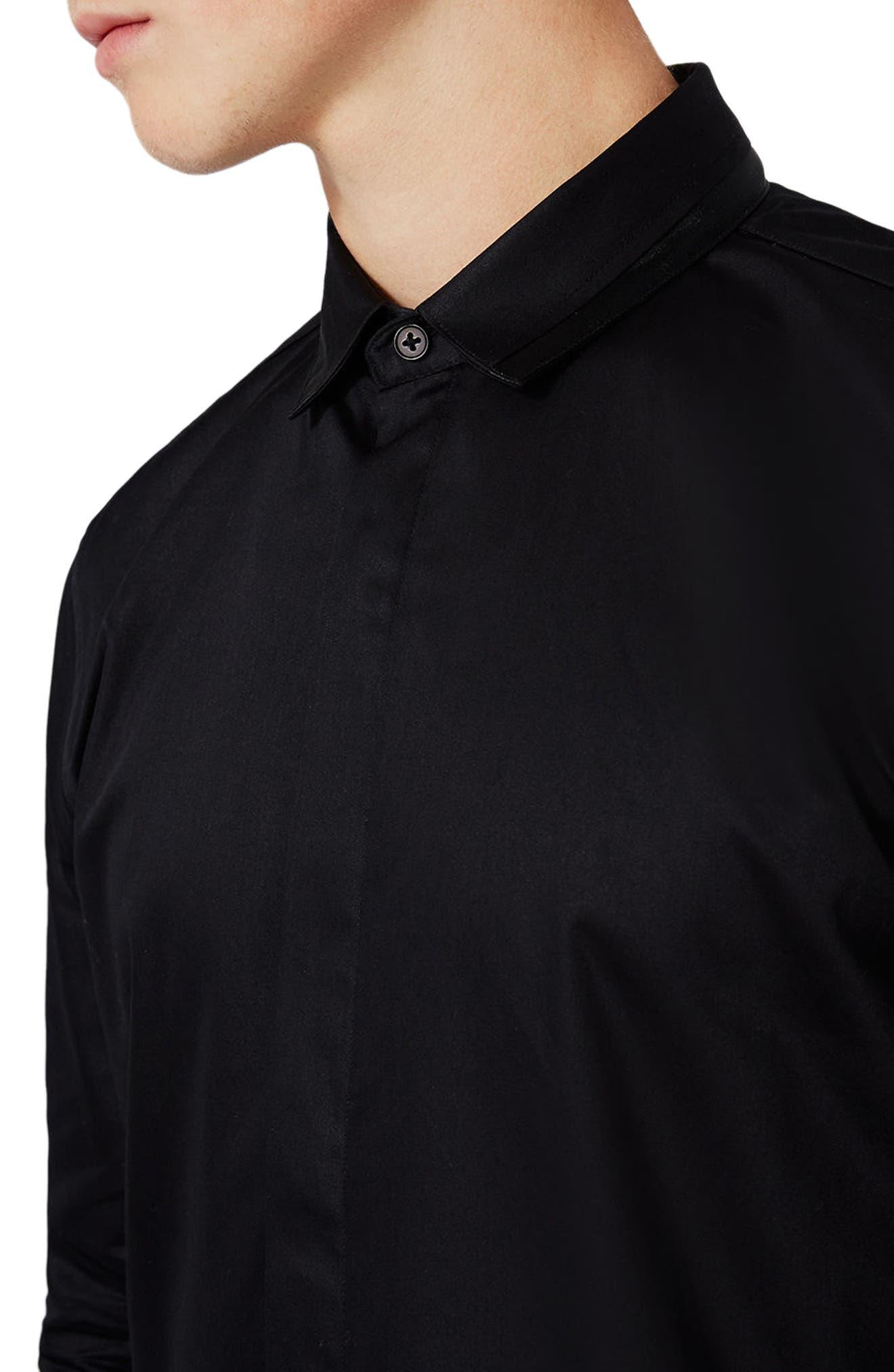 Alternate Image 5  - Topman Satin Trim Woven Shirt