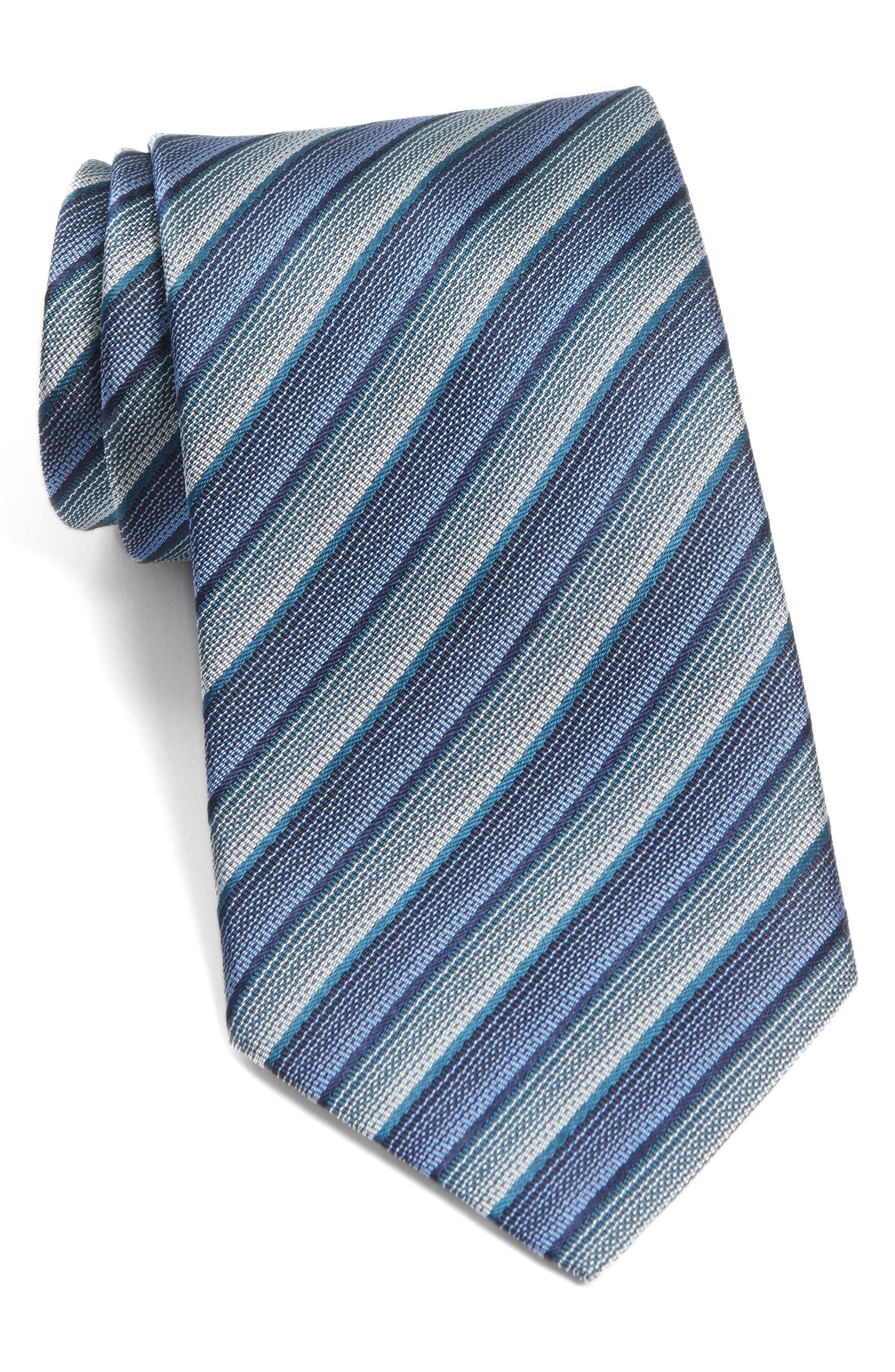 Stripe Silk Tie,                         Main,                         color, Pacific Blue