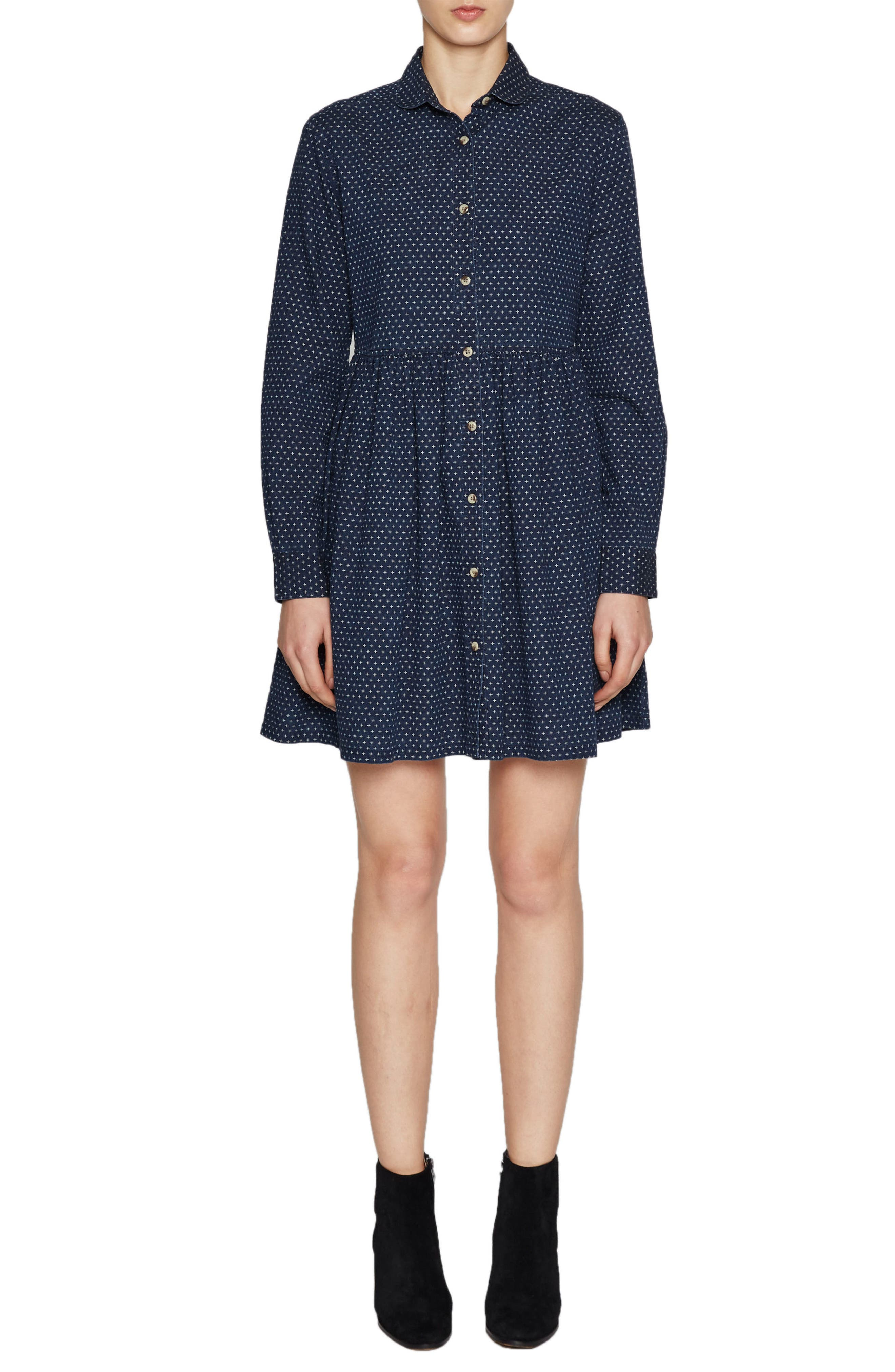 French Connection Indigo Cross Denim Shirtdress