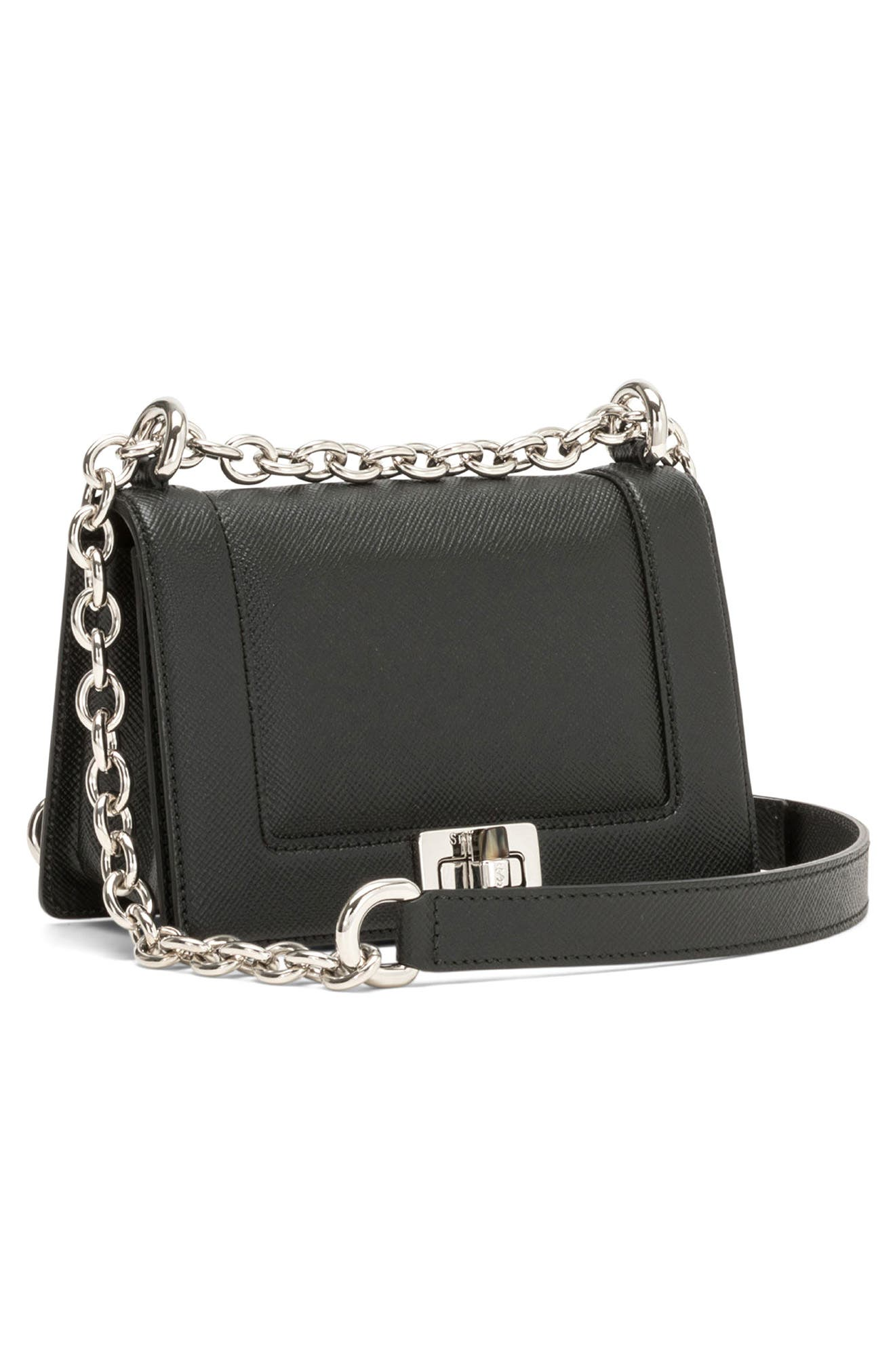 Mini Roberta Evolution Leather Crossbody Bag,                             Alternate thumbnail 4, color,                             Black