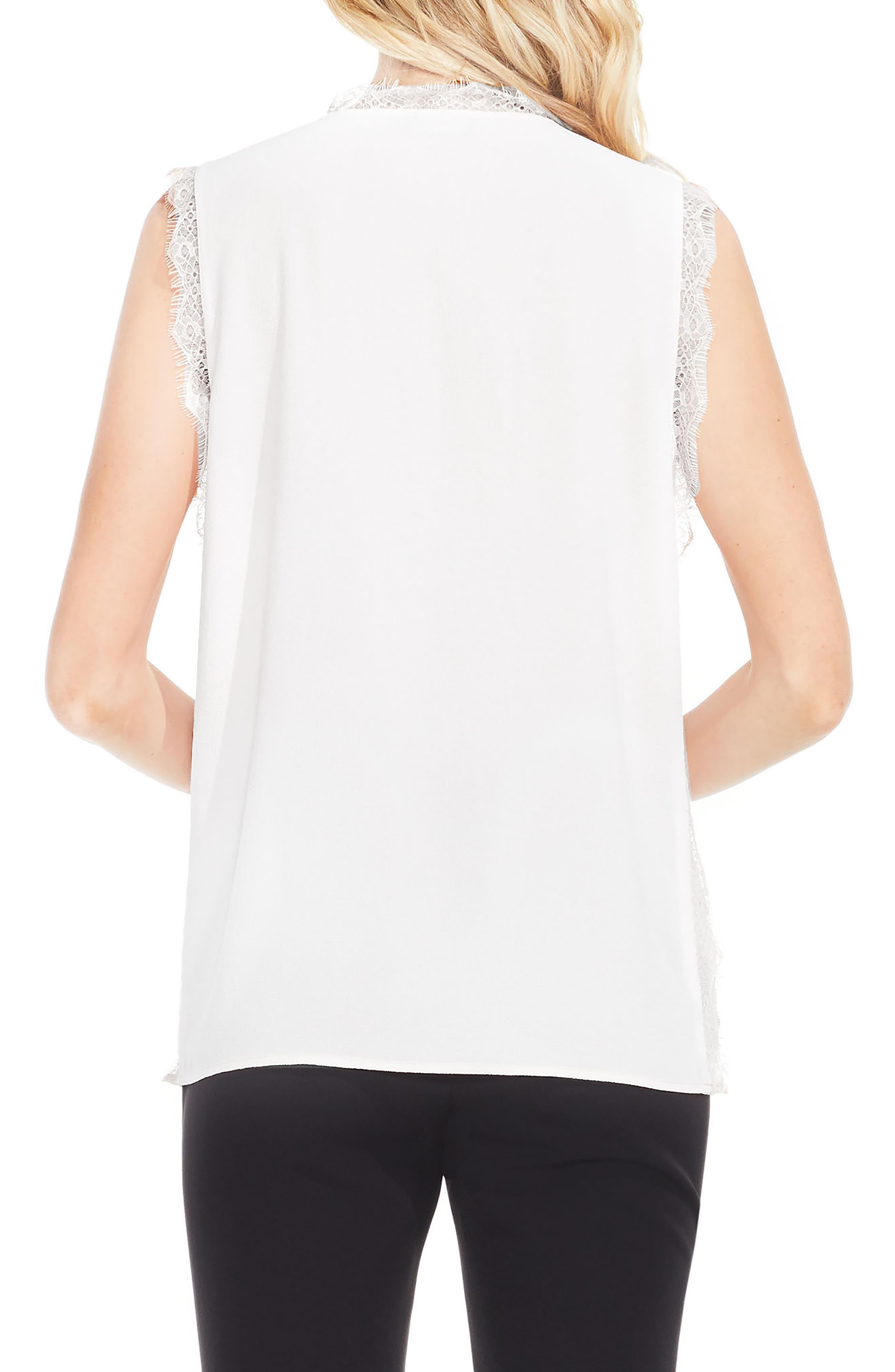 Alternate Image 2  - Vince Camuto Lace Trim Sleeveless Blouse