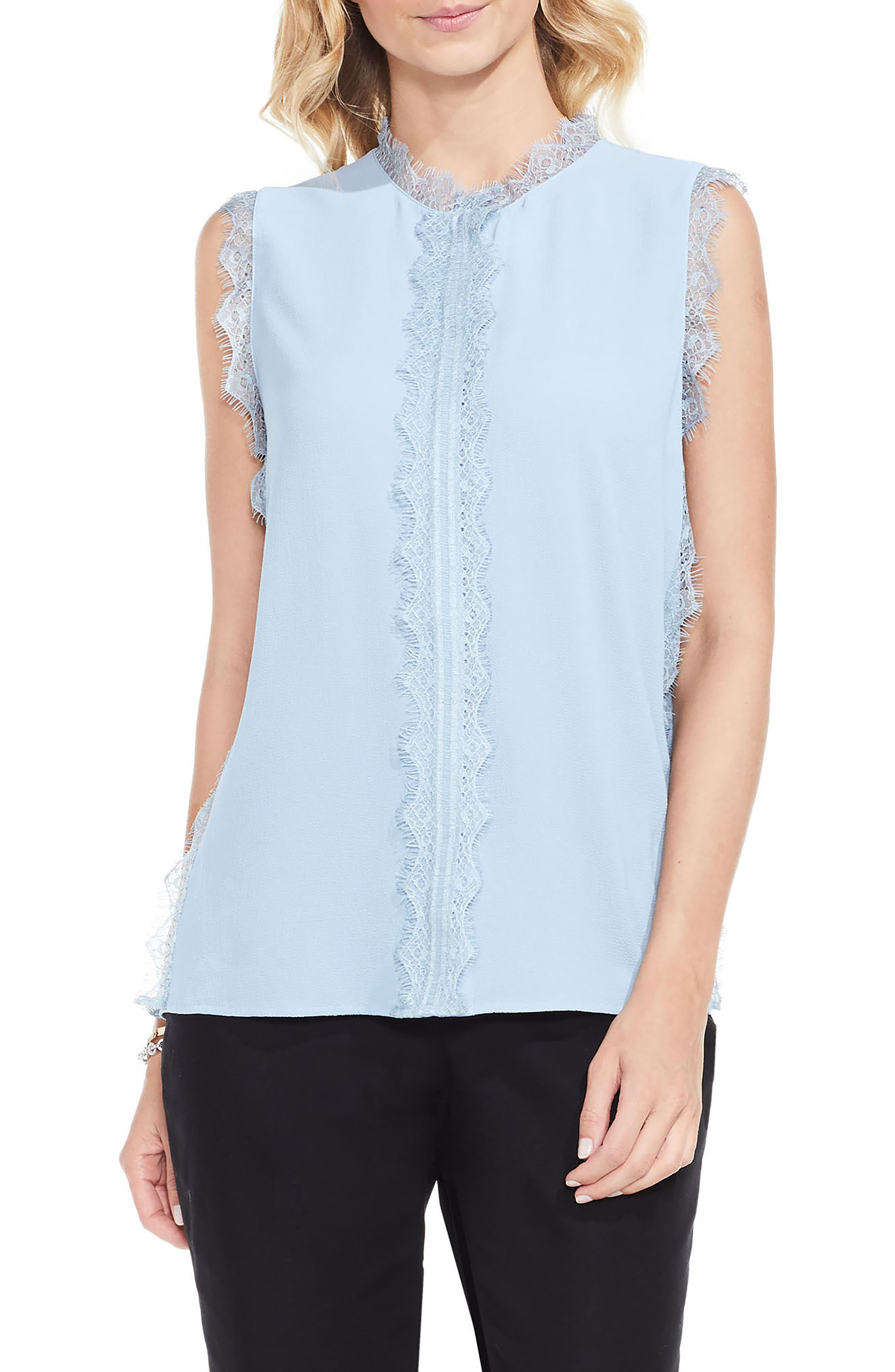 Vince Camuto Lace Trim Sleeveless Blouse