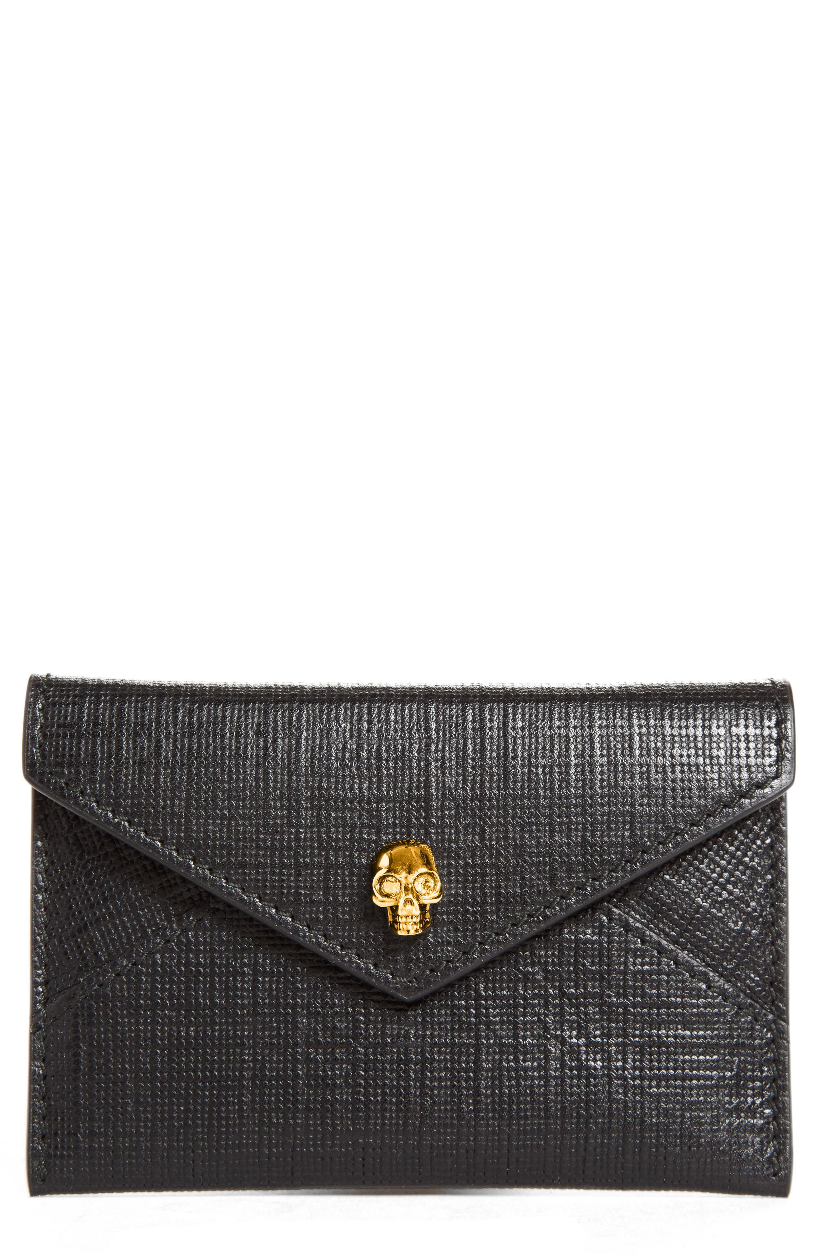 Main Image - Alexander McQueen Embossed Leather Envelope Card Case