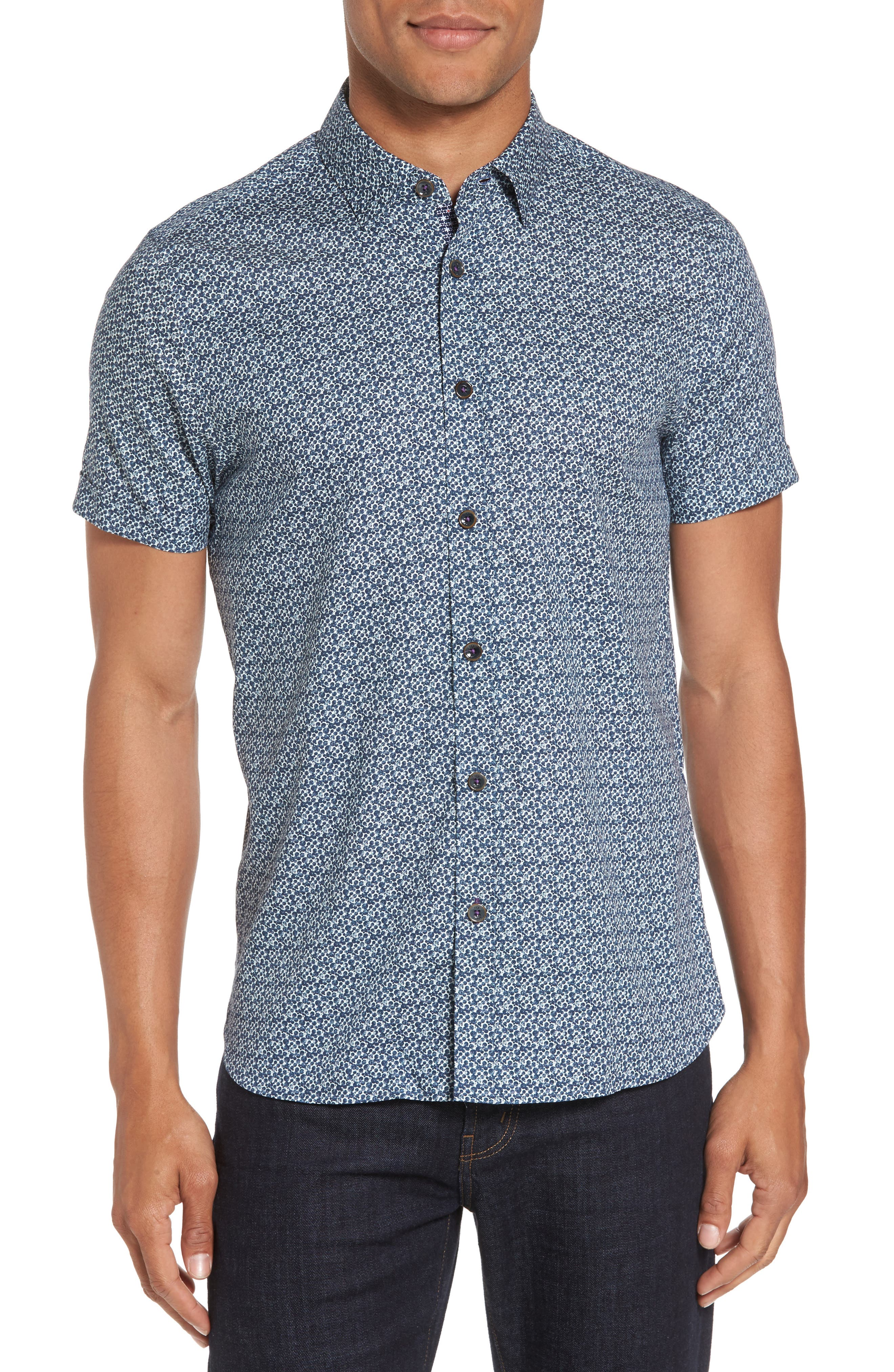 Bubbly Extra Slim Fit Print Sport Shirt,                         Main,                         color, Navy