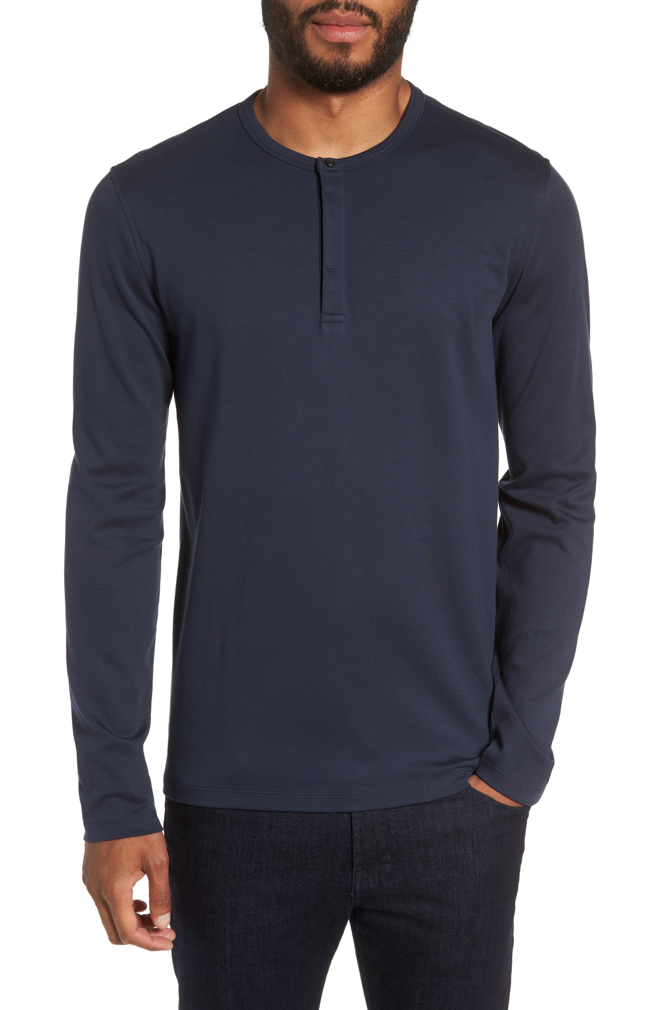 Refined Cotton Henley,                         Main,                         color, Navy Eclipse
