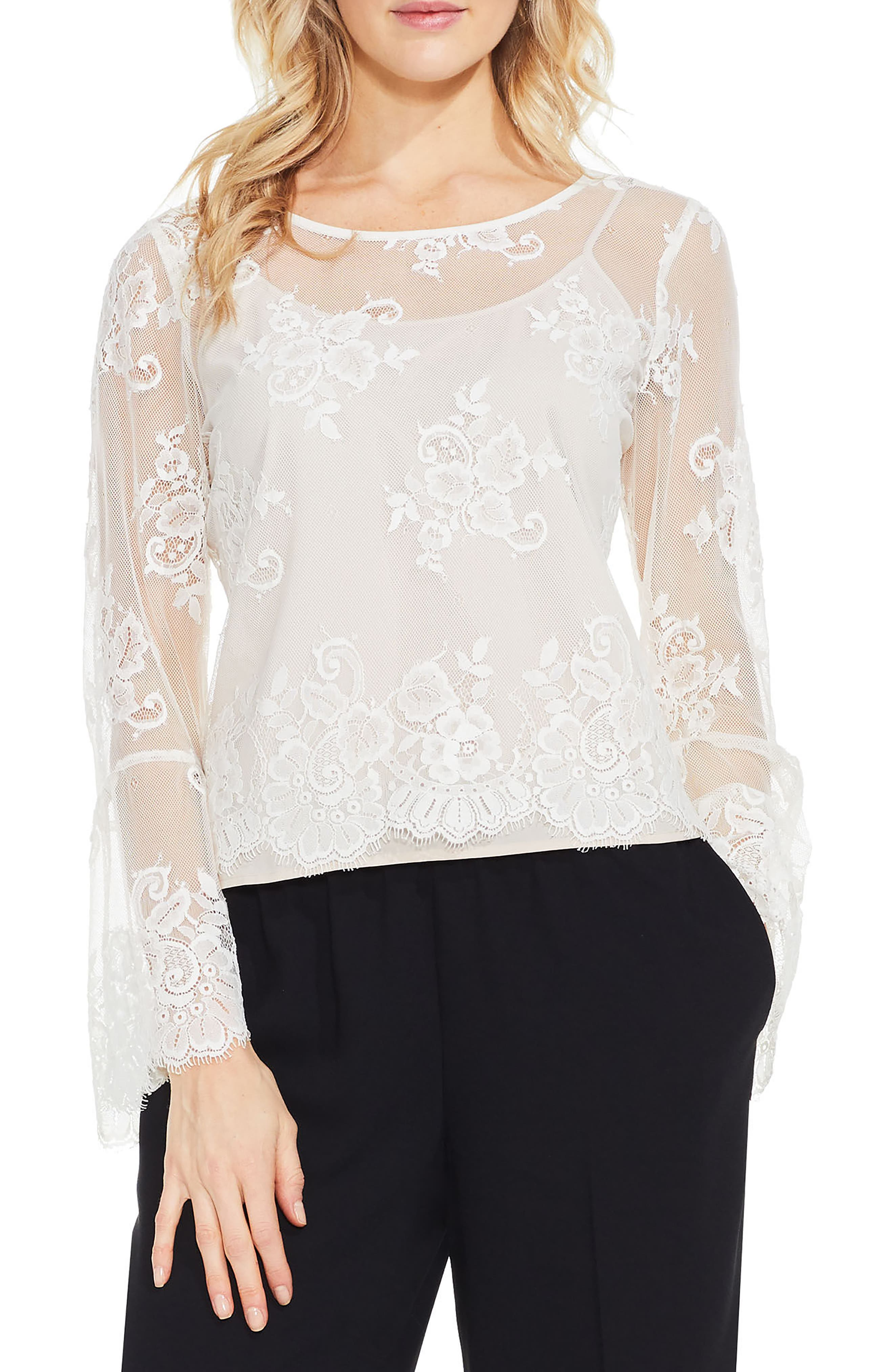 Bell Sleeve Mesh Lace Blouse,                         Main,                         color, Pearl Ivory