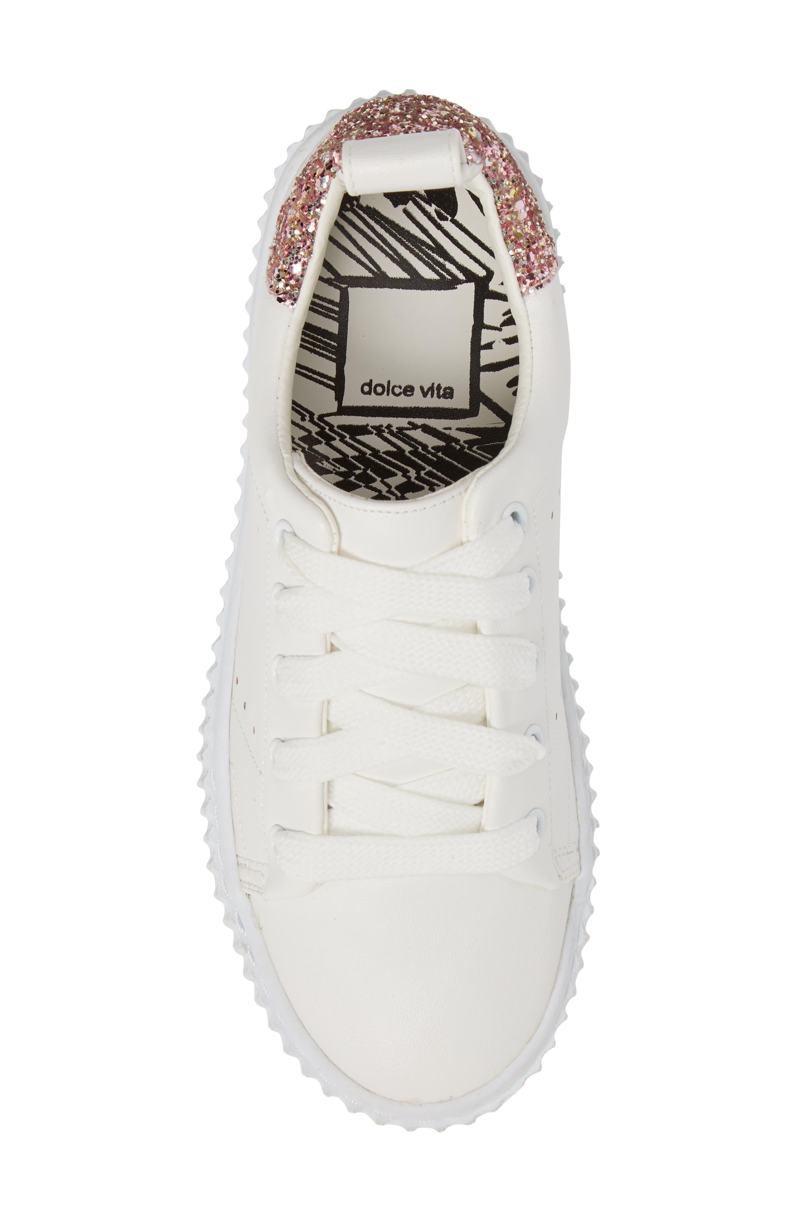 Wren Glitter Heel Sneaker,                             Alternate thumbnail 5, color,                             White
