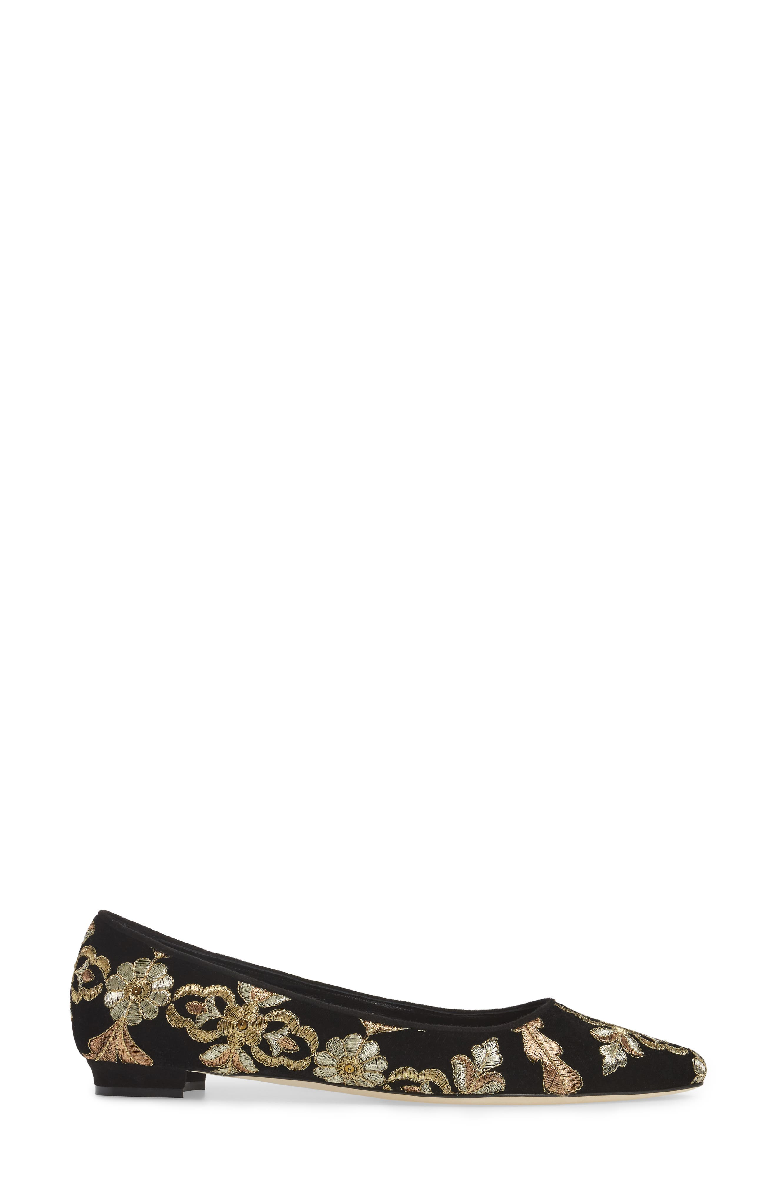 Alternate Image 3  - Manolo Blahnik Tittermo Floral Embroidered Ballet Flat (Women)