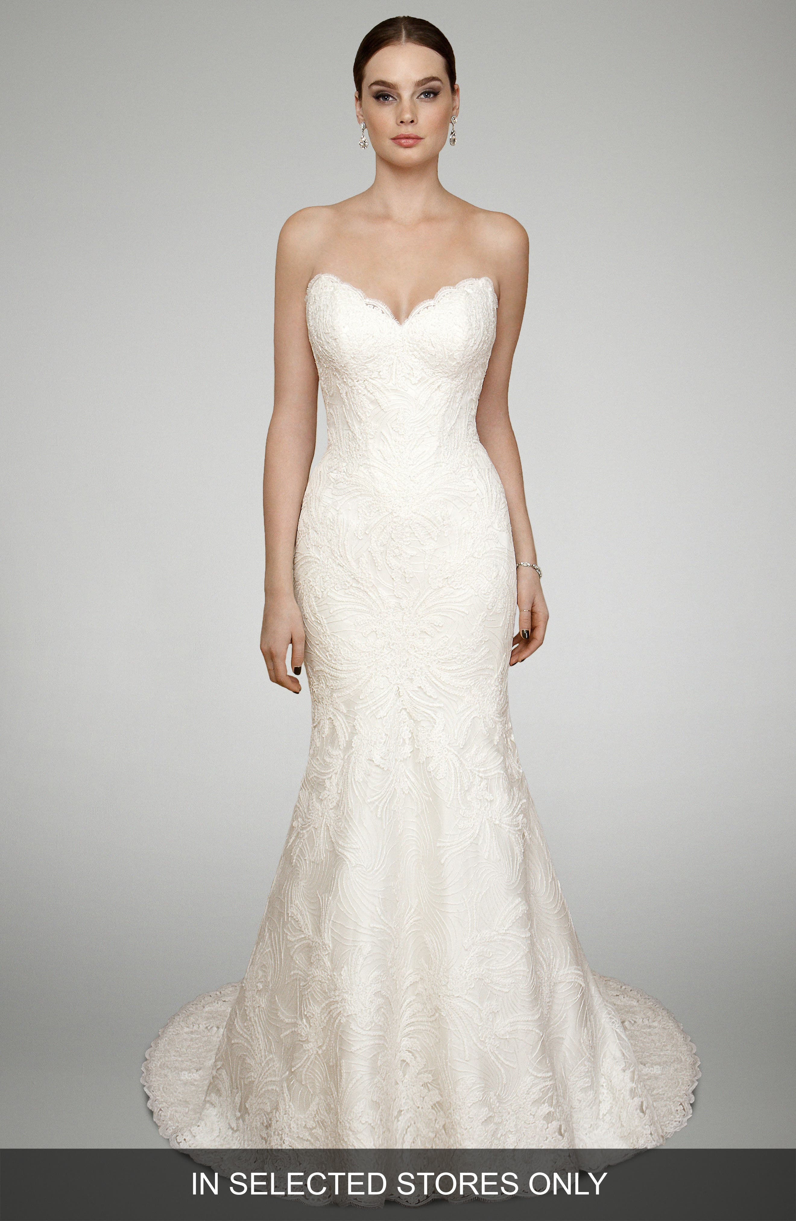 Trumpet Gown,                         Main,                         color, Deep Ivory