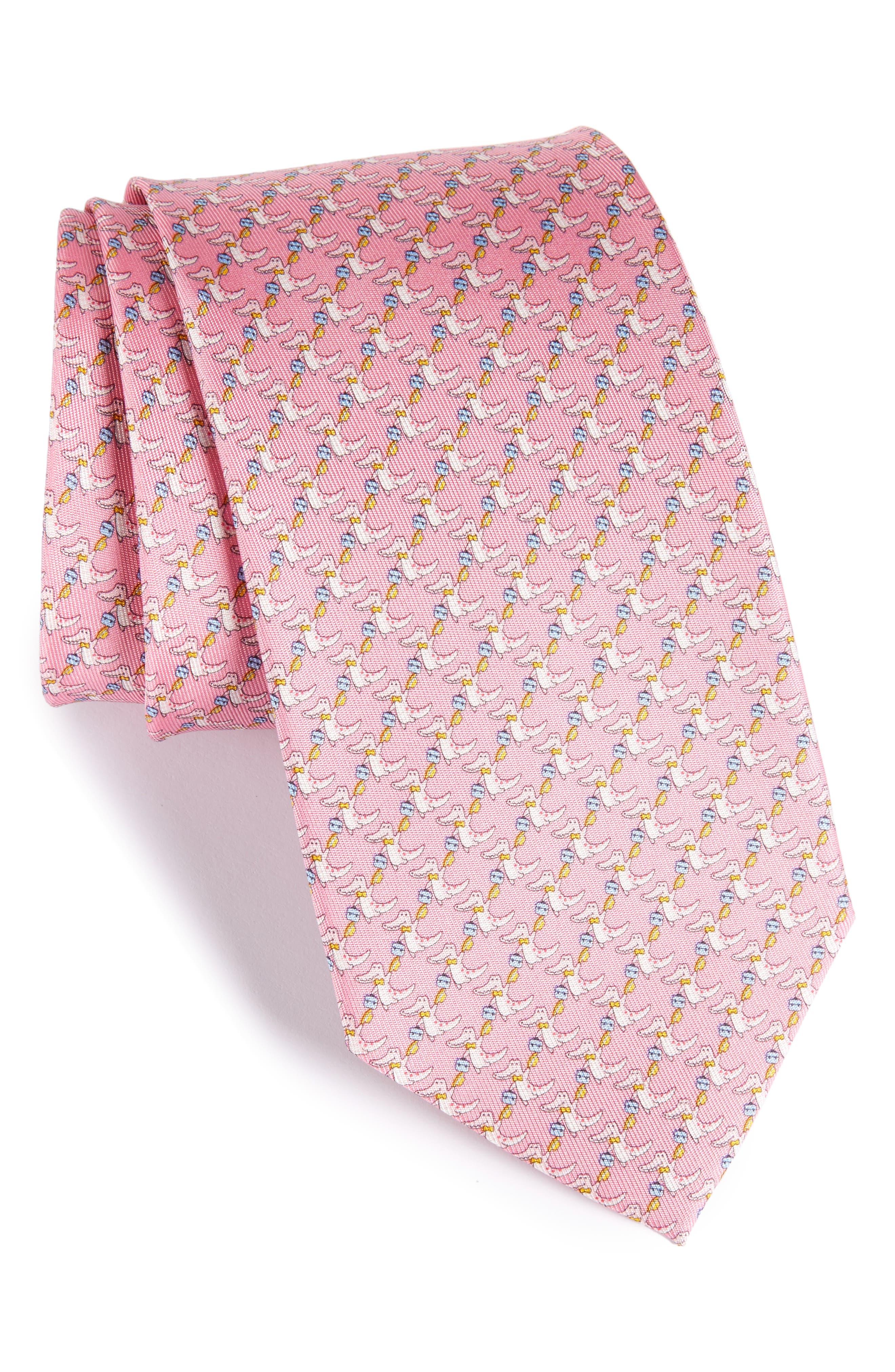 Crocodile Silk Tie,                         Main,                         color, Pink