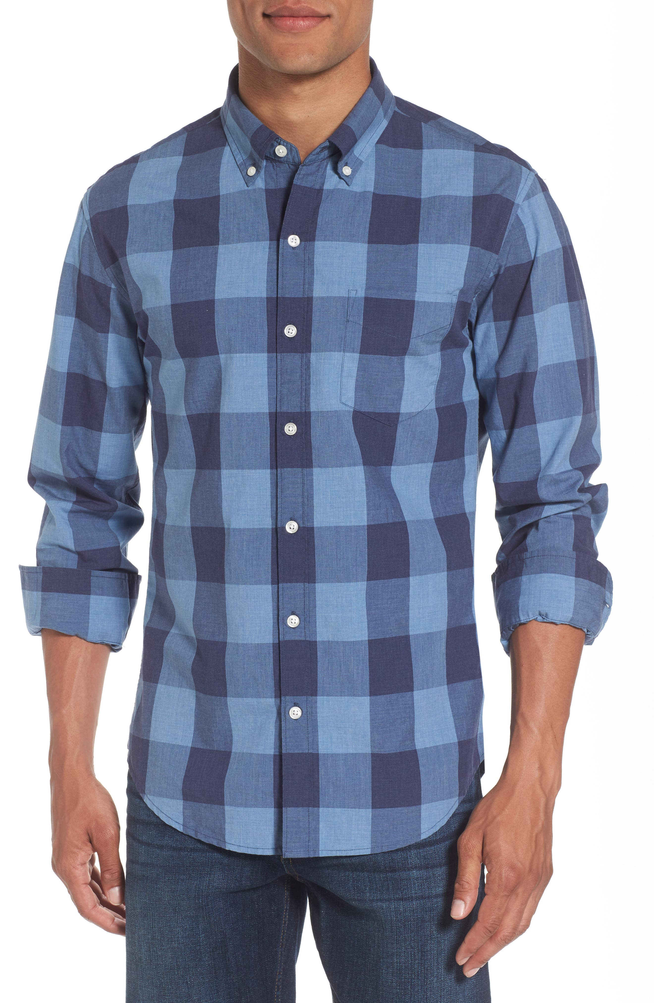 Slim Fit Washed Check Sport Shirt,                             Main thumbnail 1, color,                             Blue Grey Plaid