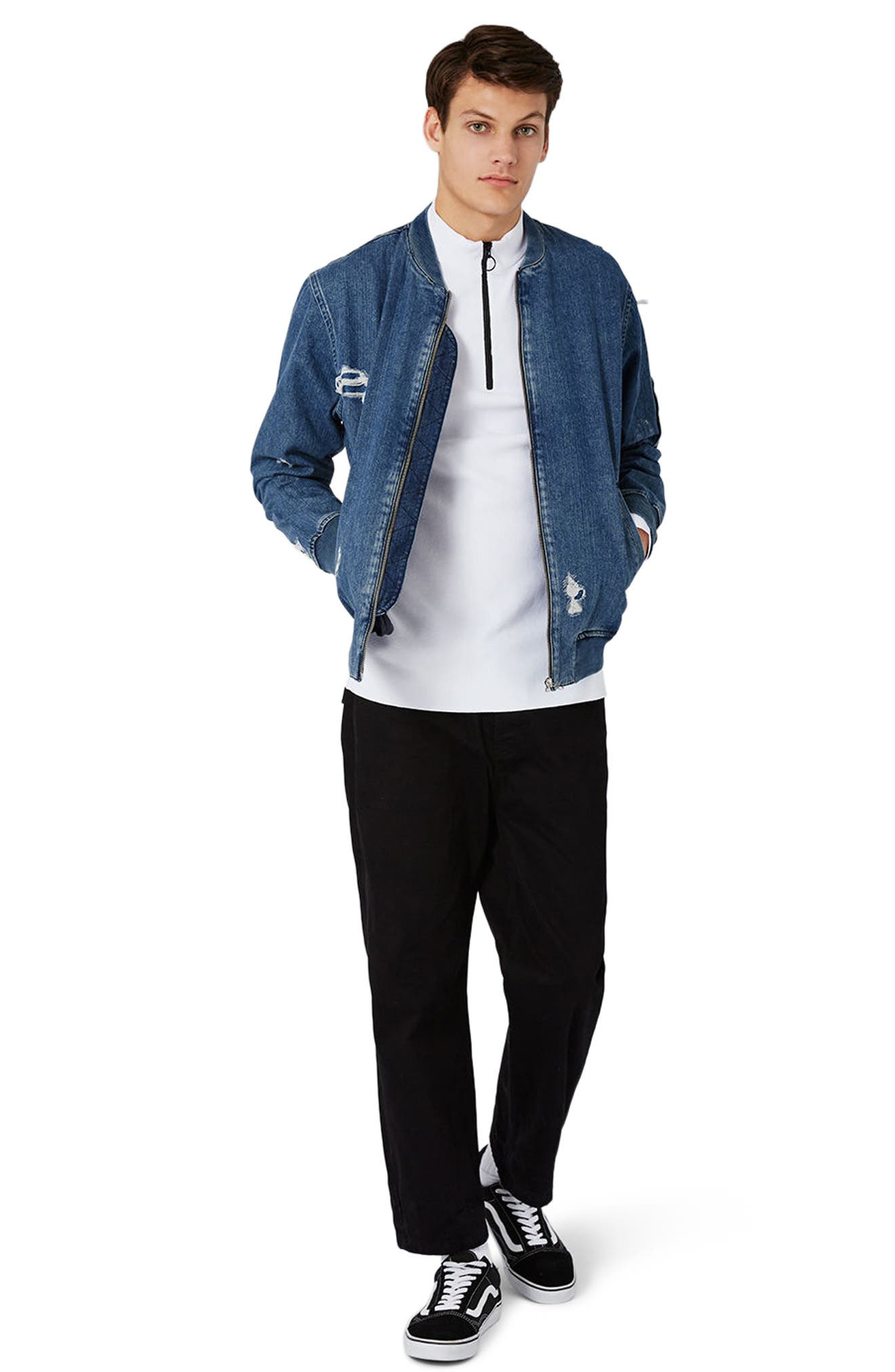 Alternate Image 2  - Topman Distressed Denim Bomber Jacket