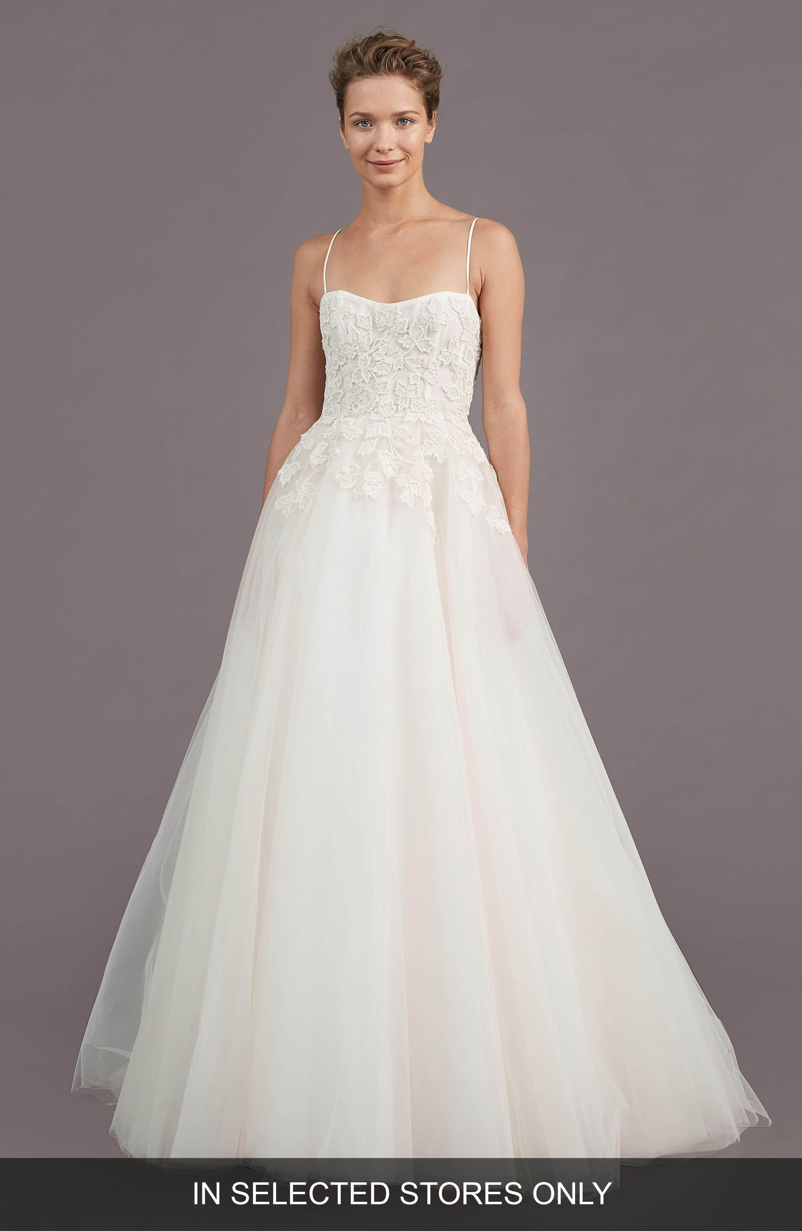 Amsale Holland Embellished A-Line Gown